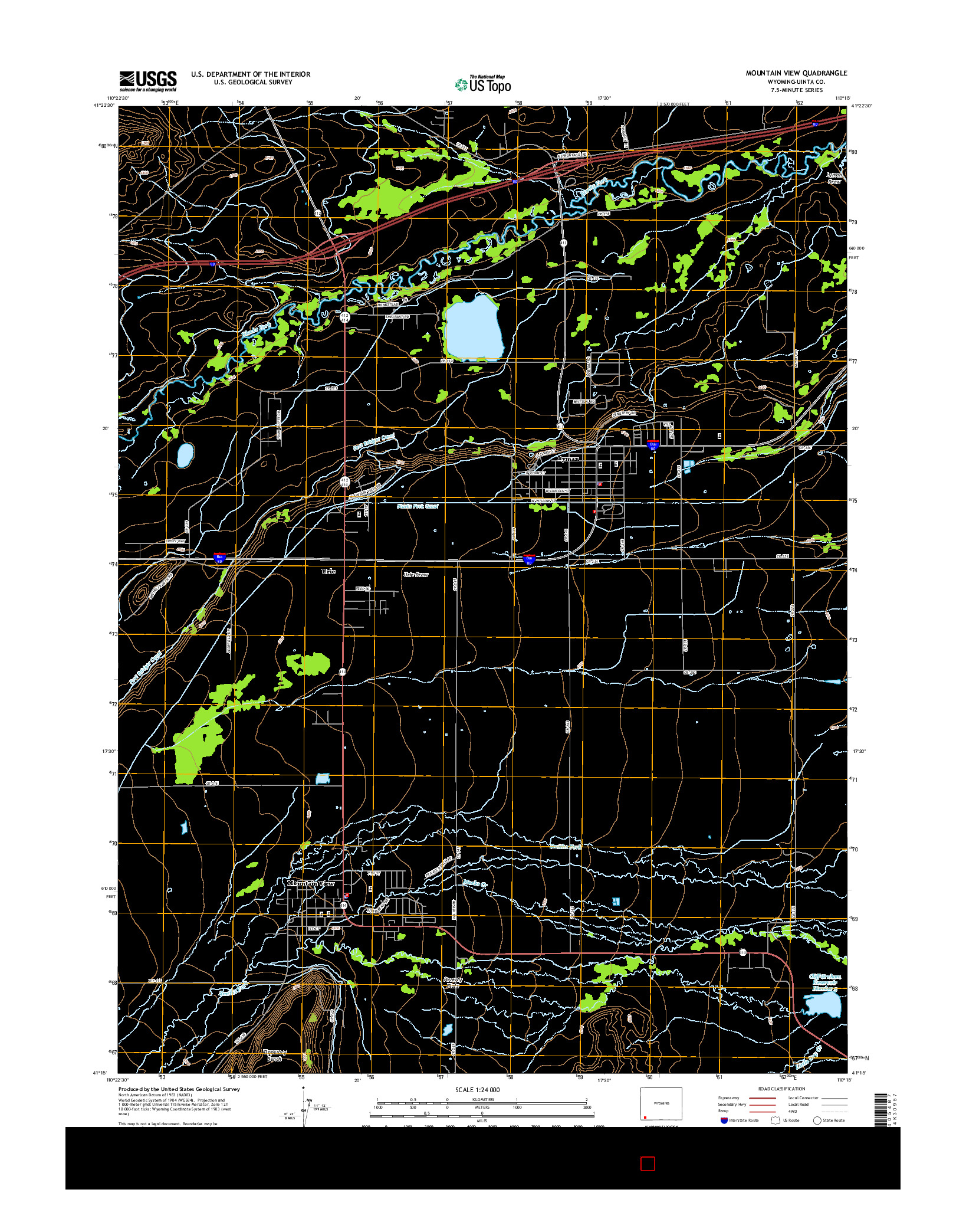 USGS US TOPO 7.5-MINUTE MAP FOR MOUNTAIN VIEW, WY 2015