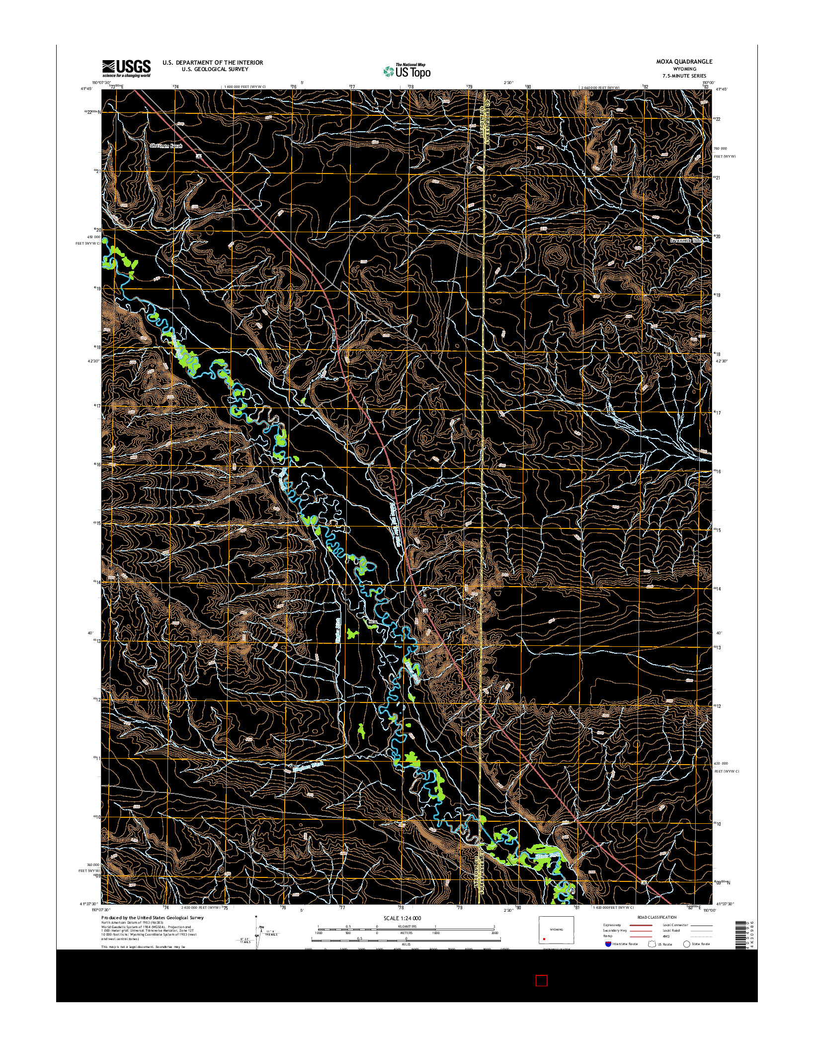 USGS US TOPO 7.5-MINUTE MAP FOR MOXA, WY 2015