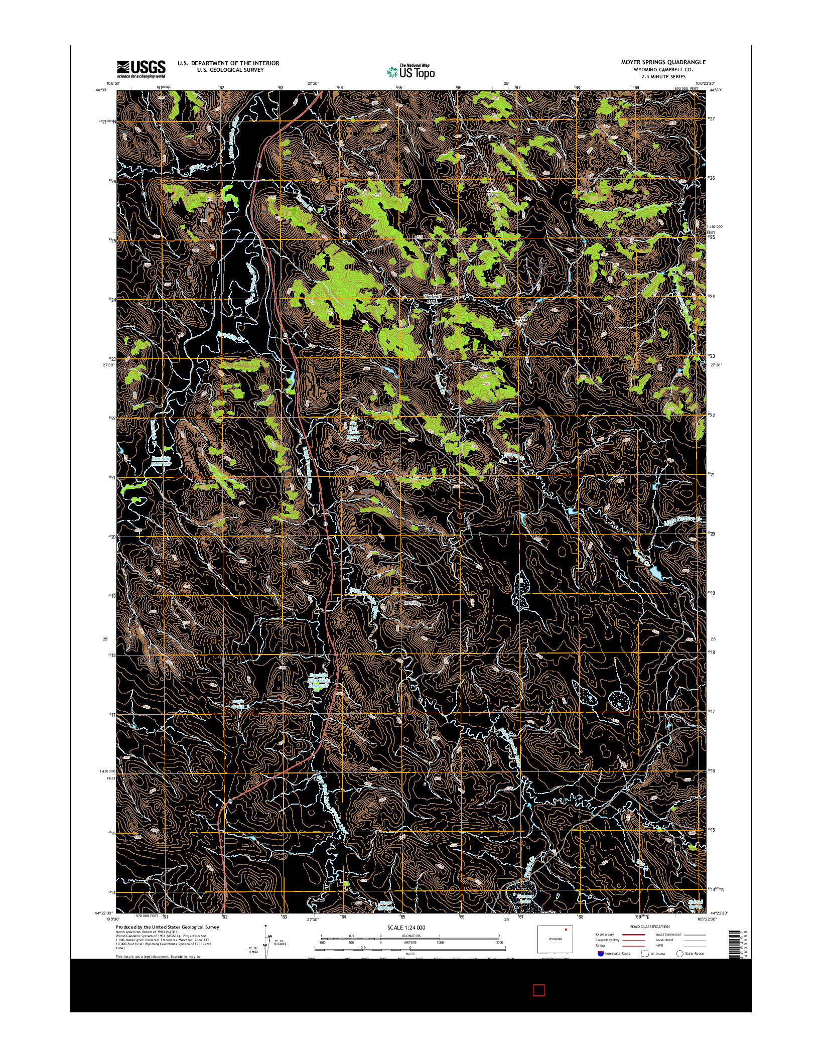 USGS US TOPO 7.5-MINUTE MAP FOR MOYER SPRINGS, WY 2015