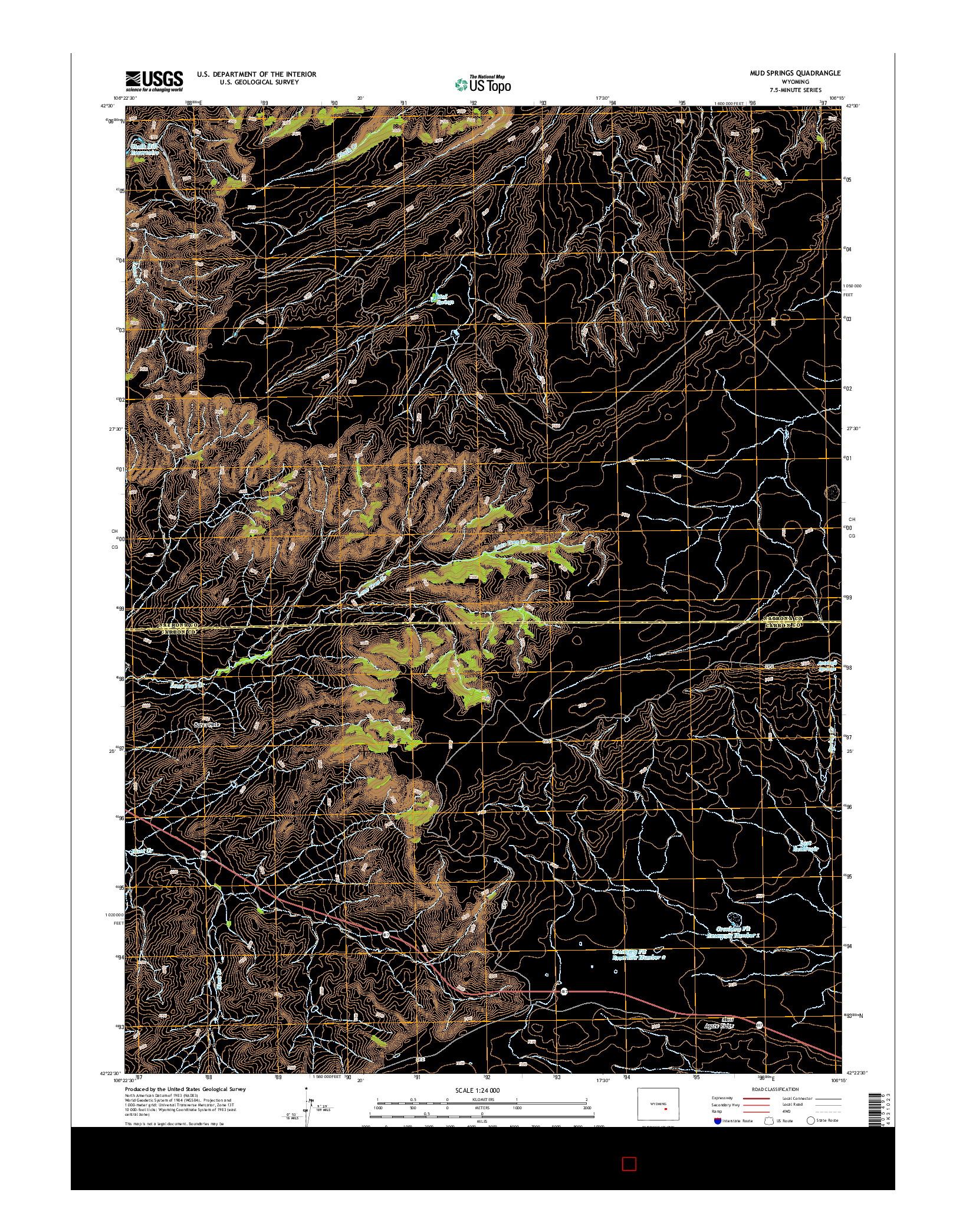 USGS US TOPO 7.5-MINUTE MAP FOR MUD SPRINGS, WY 2015