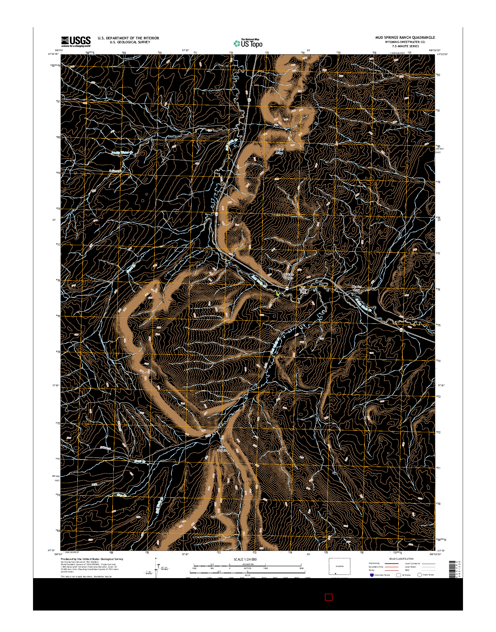 USGS US TOPO 7.5-MINUTE MAP FOR MUD SPRINGS RANCH, WY 2015