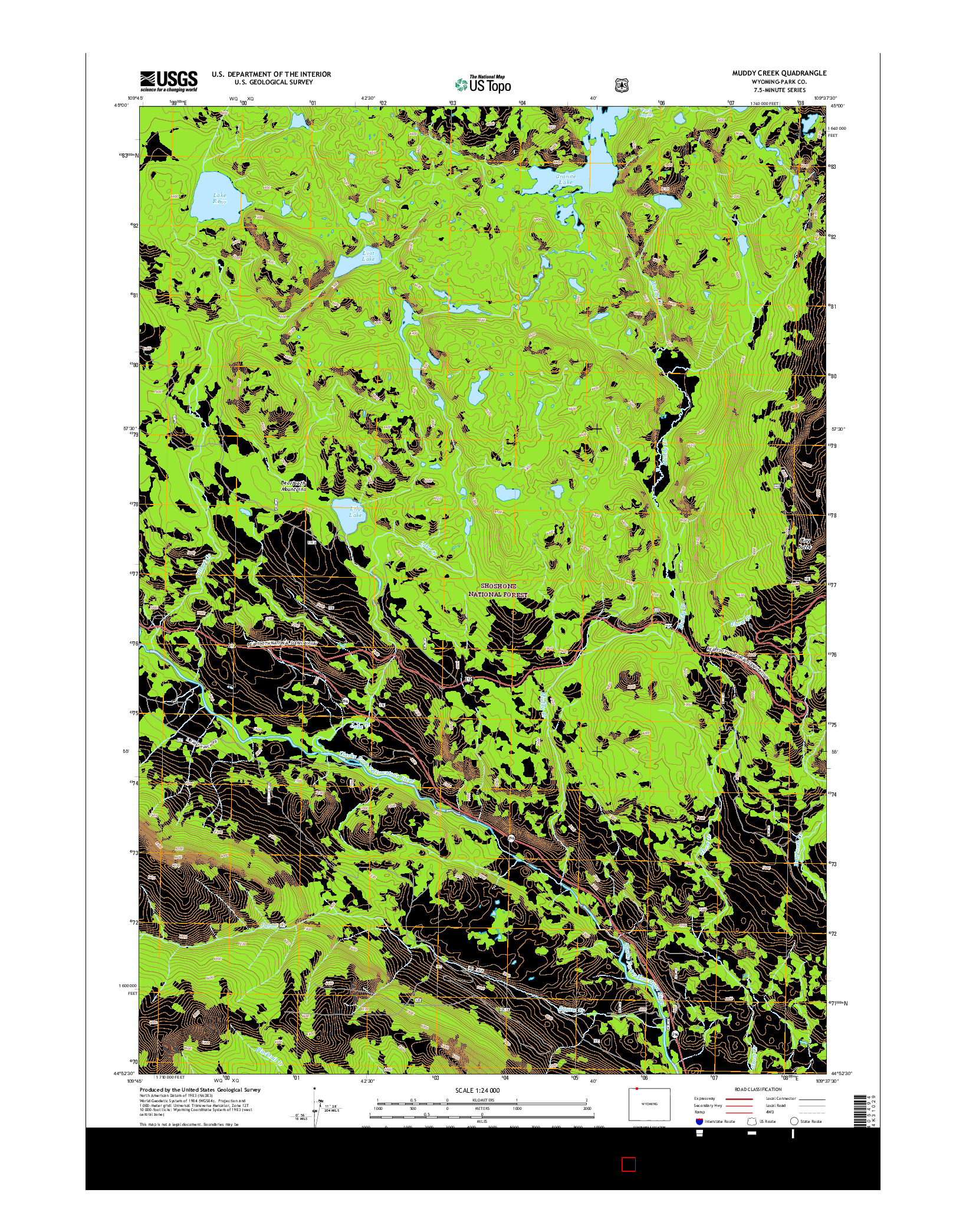 USGS US TOPO 7.5-MINUTE MAP FOR MUDDY CREEK, WY 2015