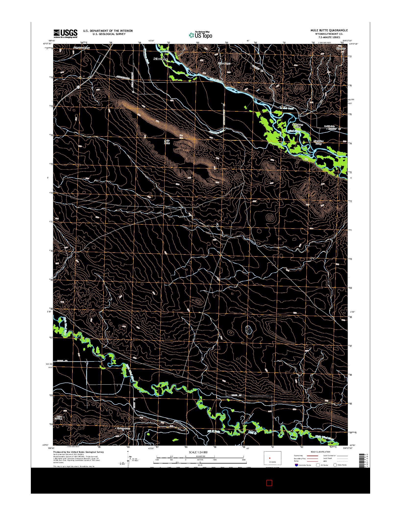 USGS US TOPO 7.5-MINUTE MAP FOR MULE BUTTE, WY 2015