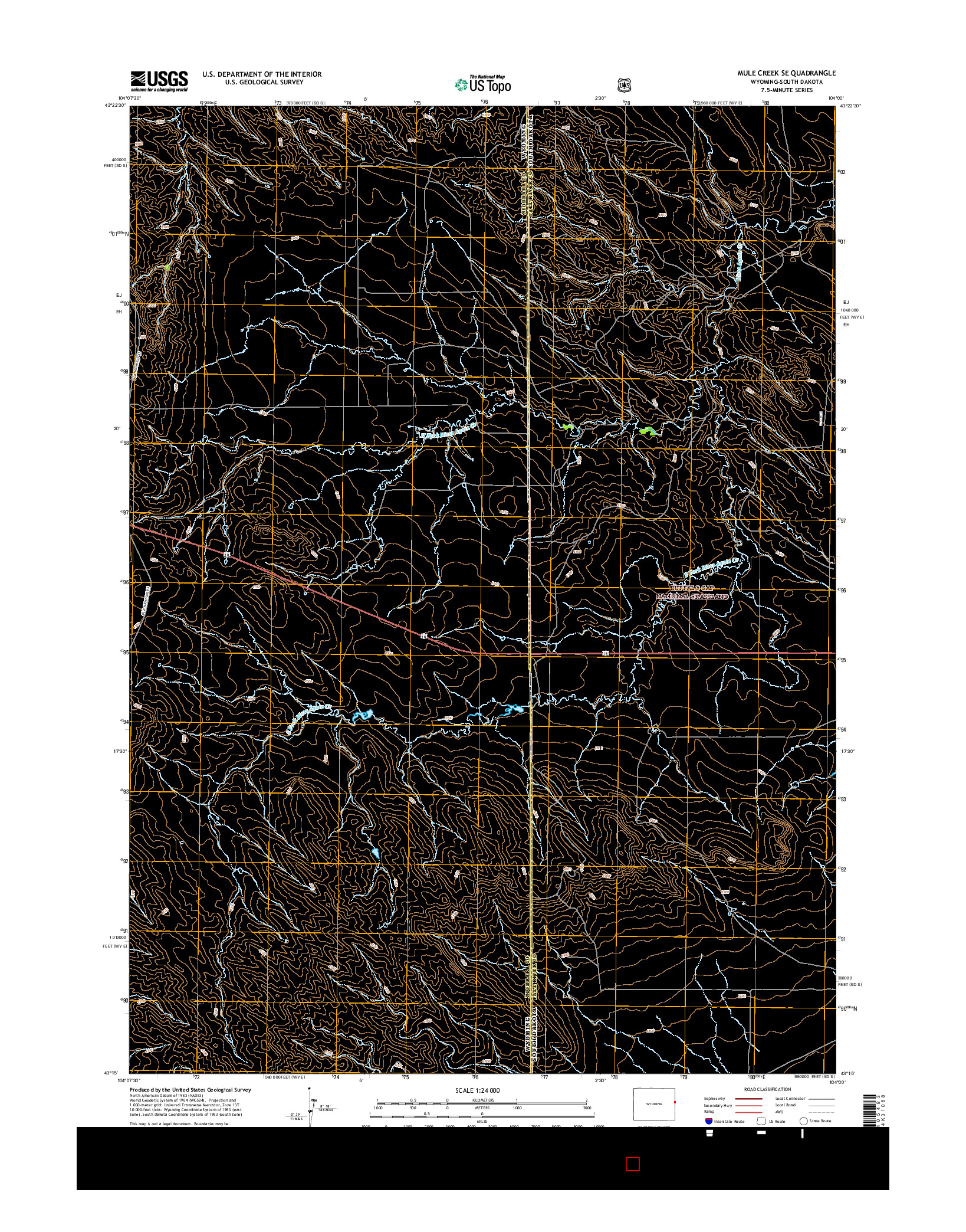 USGS US TOPO 7.5-MINUTE MAP FOR MULE CREEK SE, WY-SD 2015
