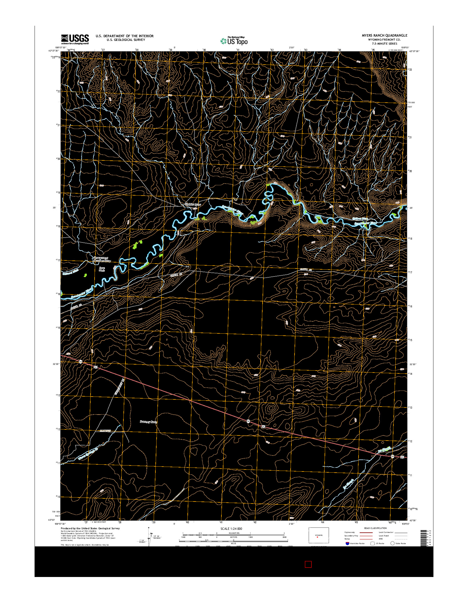 USGS US TOPO 7.5-MINUTE MAP FOR MYERS RANCH, WY 2015