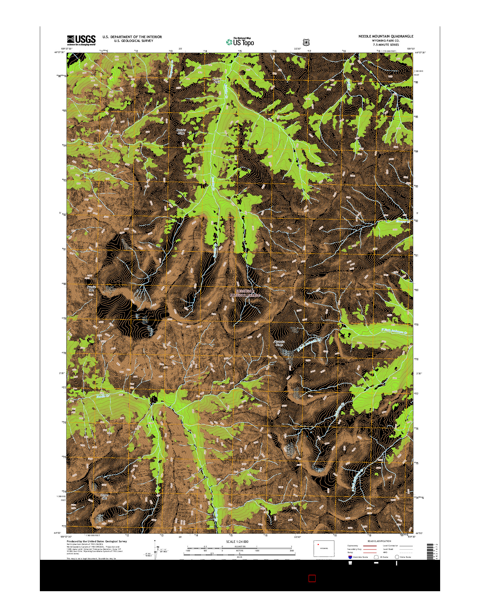 USGS US TOPO 7.5-MINUTE MAP FOR NEEDLE MOUNTAIN, WY 2015