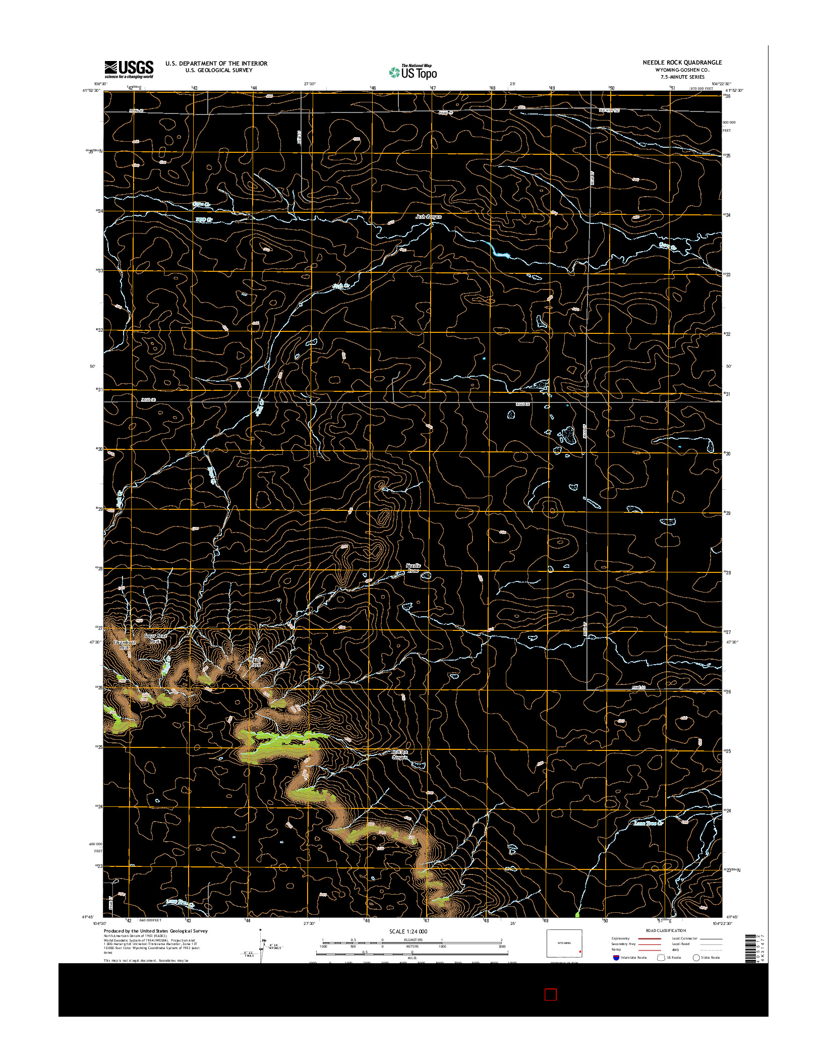 USGS US TOPO 7.5-MINUTE MAP FOR NEEDLE ROCK, WY 2015