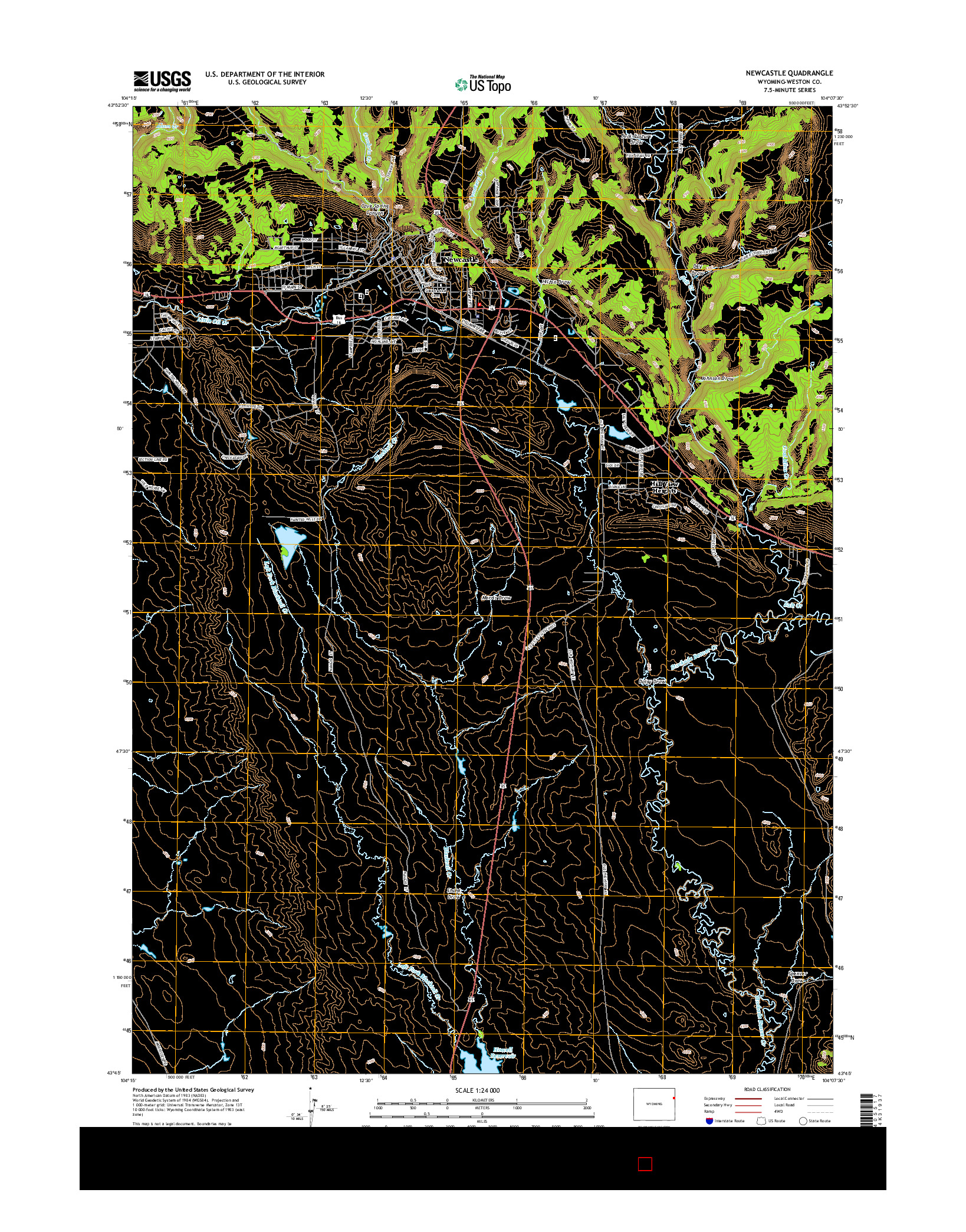 USGS US TOPO 7.5-MINUTE MAP FOR NEWCASTLE, WY 2015