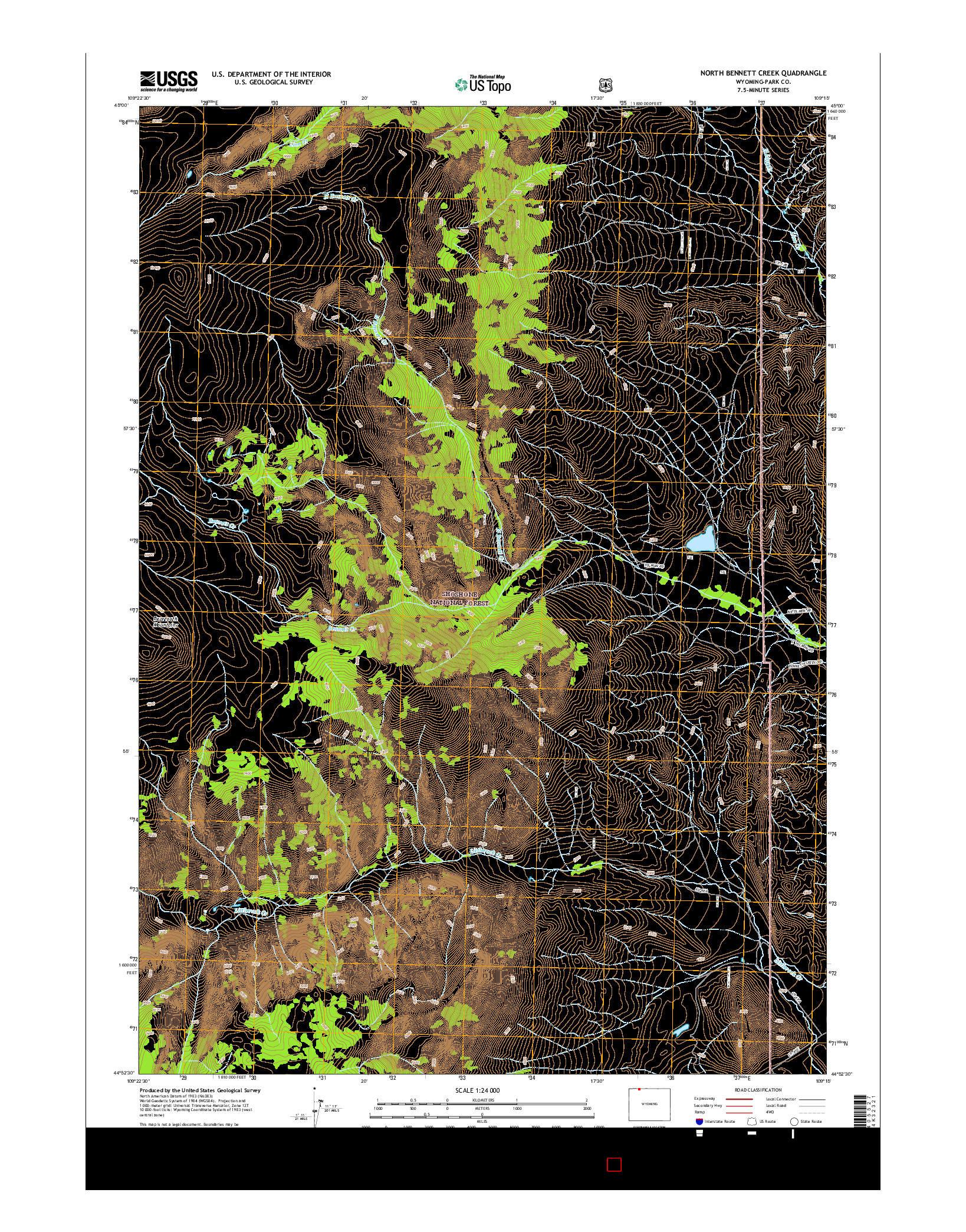 USGS US TOPO 7.5-MINUTE MAP FOR NORTH BENNETT CREEK, WY 2015