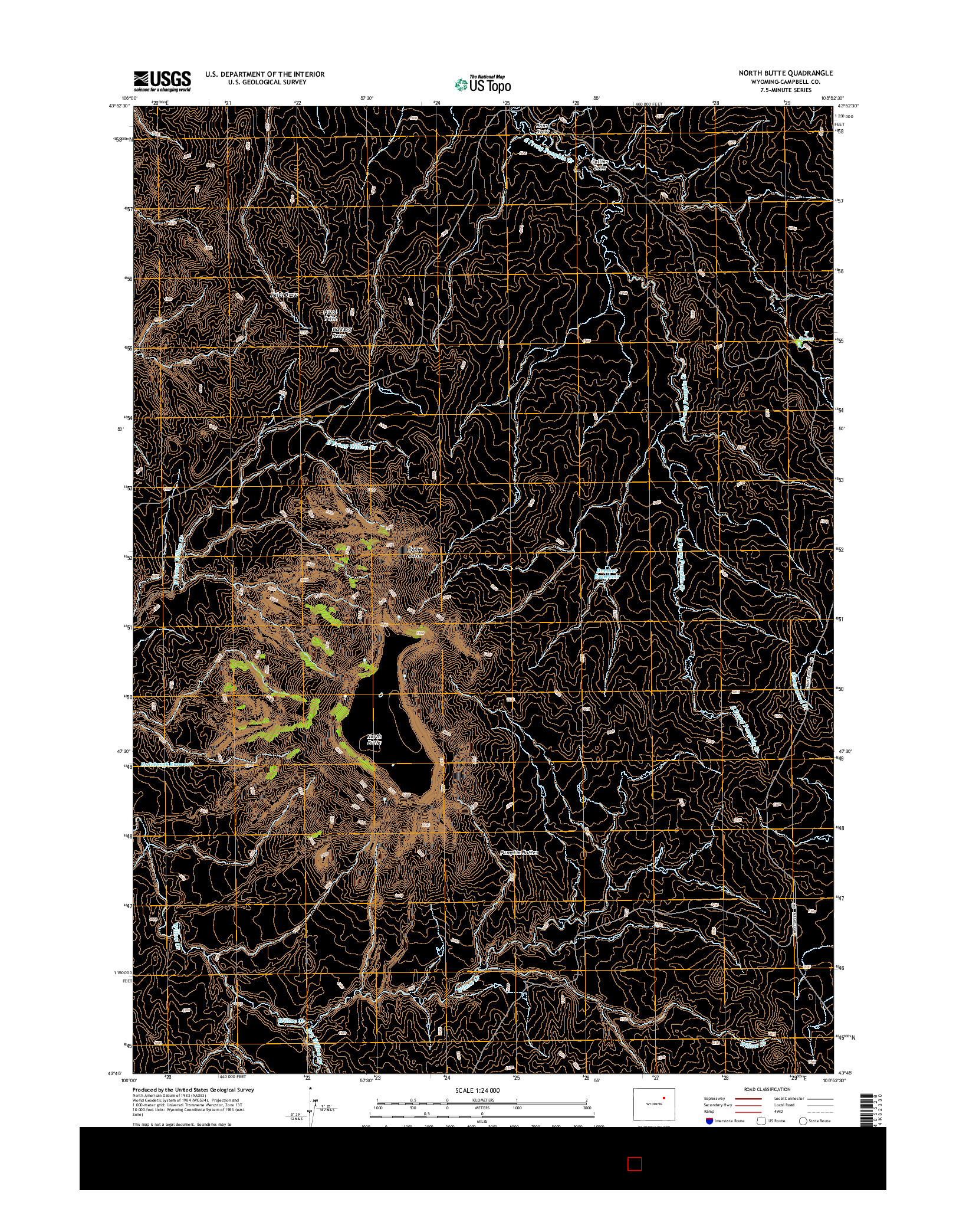 USGS US TOPO 7.5-MINUTE MAP FOR NORTH BUTTE, WY 2015