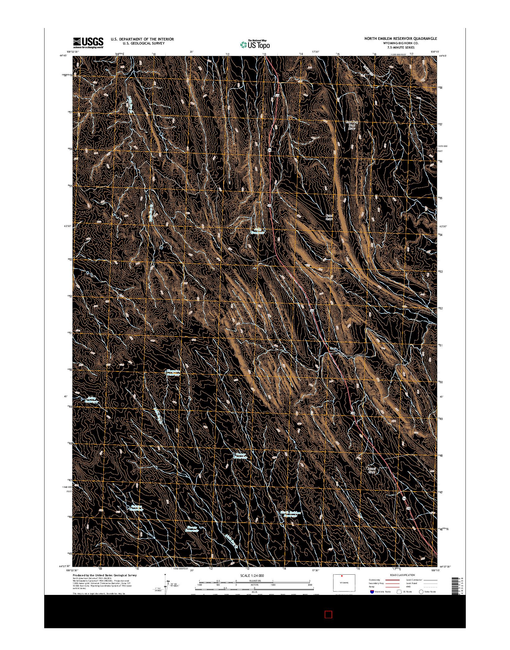 USGS US TOPO 7.5-MINUTE MAP FOR NORTH EMBLEM RESERVOIR, WY 2015