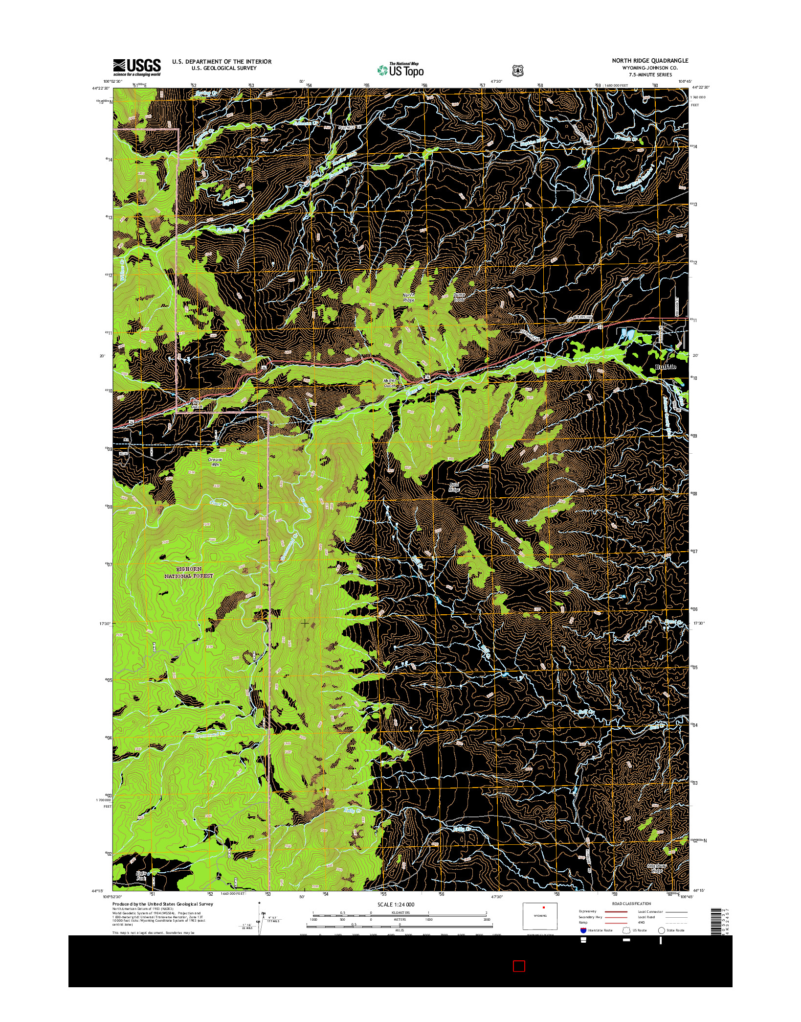 USGS US TOPO 7.5-MINUTE MAP FOR NORTH RIDGE, WY 2015
