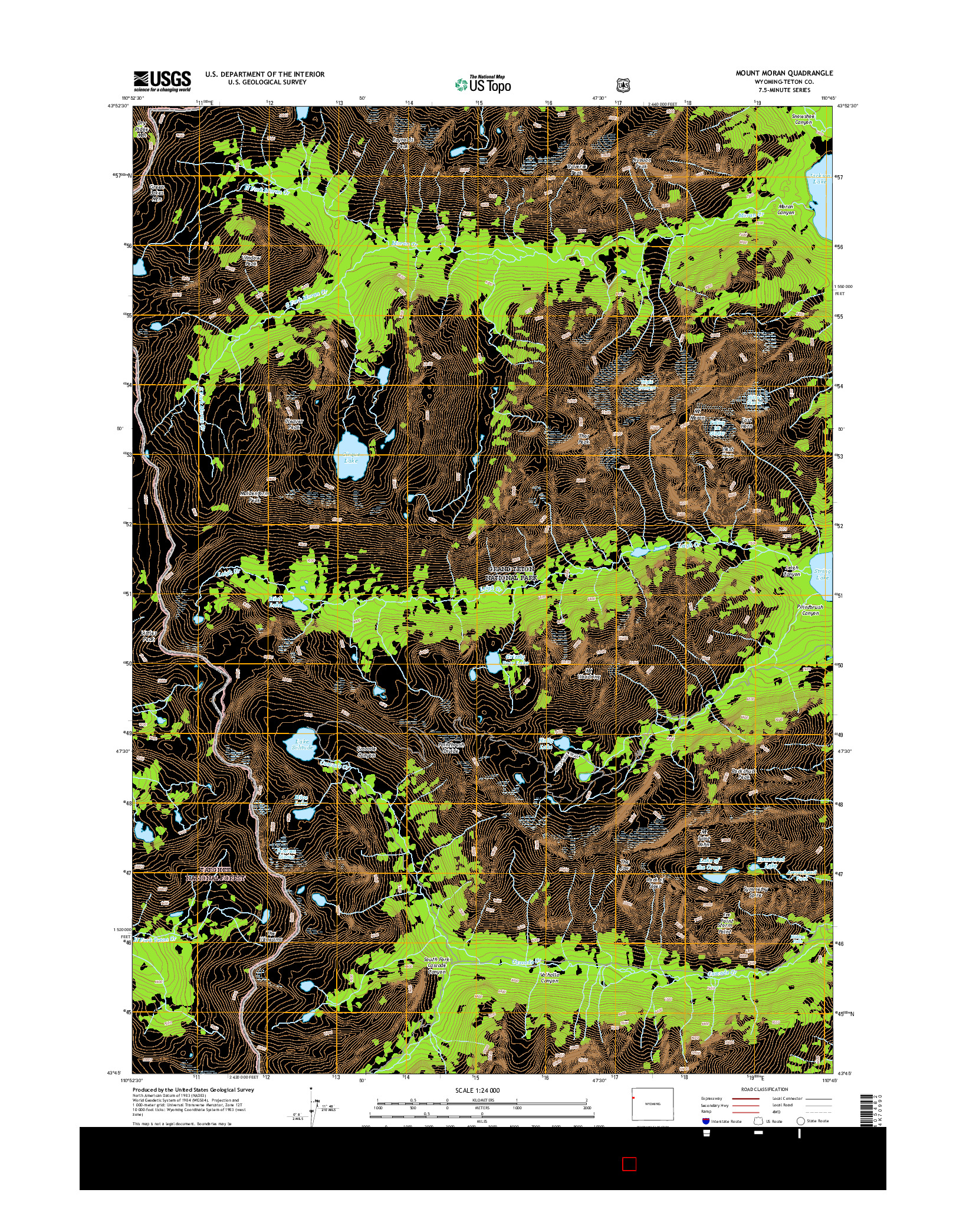 USGS US TOPO 7.5-MINUTE MAP FOR MOUNT MORAN, WY 2015