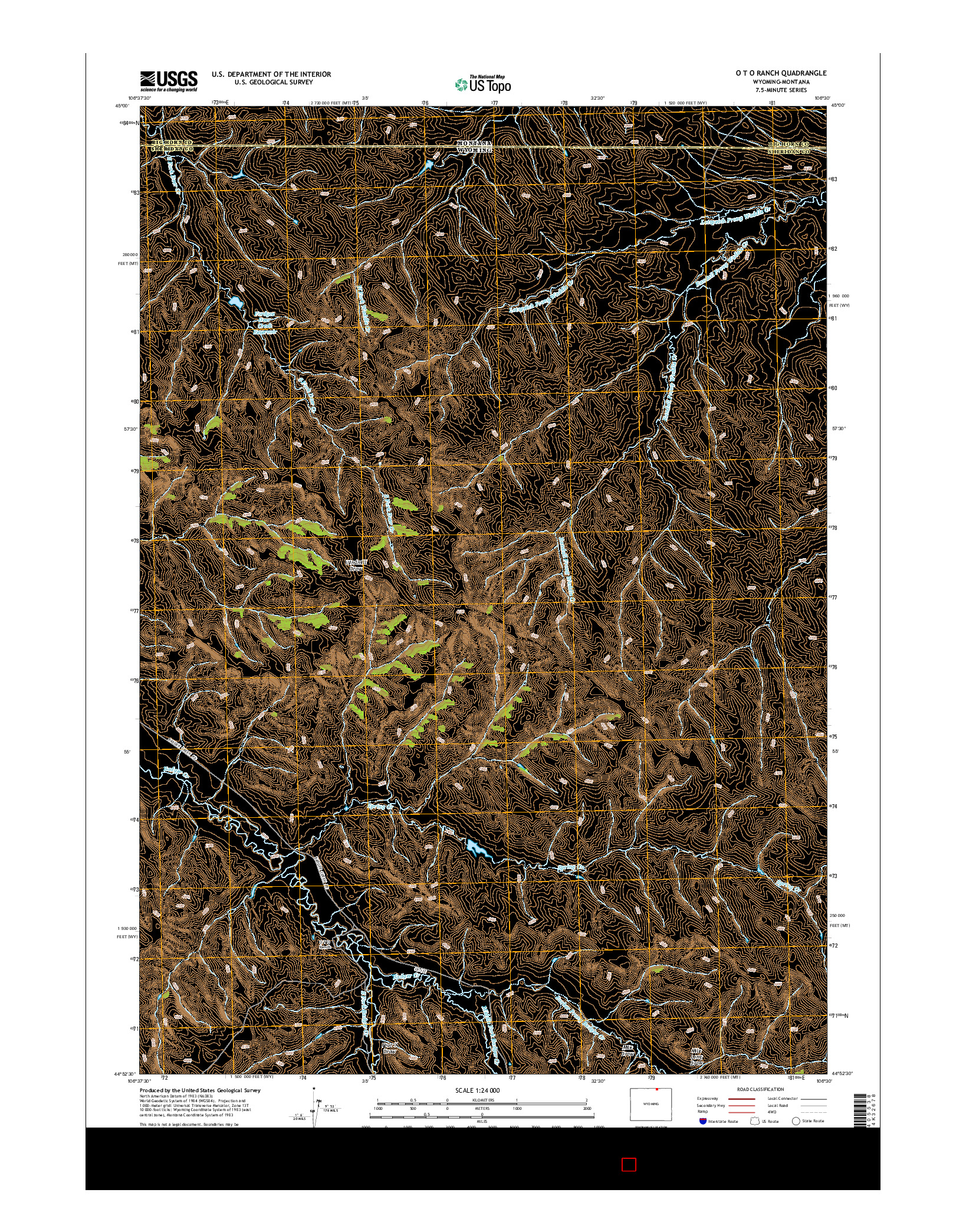 USGS US TOPO 7.5-MINUTE MAP FOR O T O RANCH, WY-MT 2015