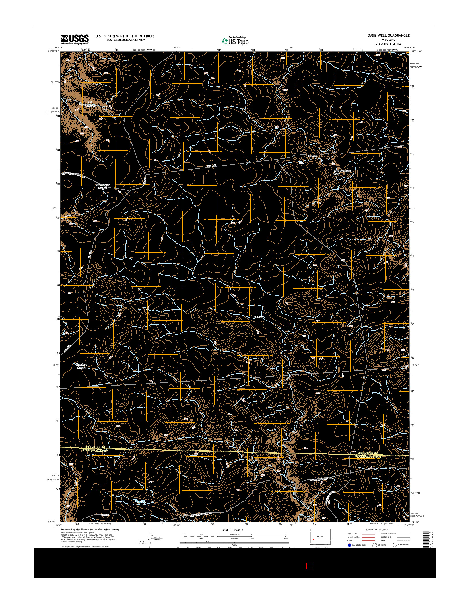USGS US TOPO 7.5-MINUTE MAP FOR OASIS WELL, WY 2015