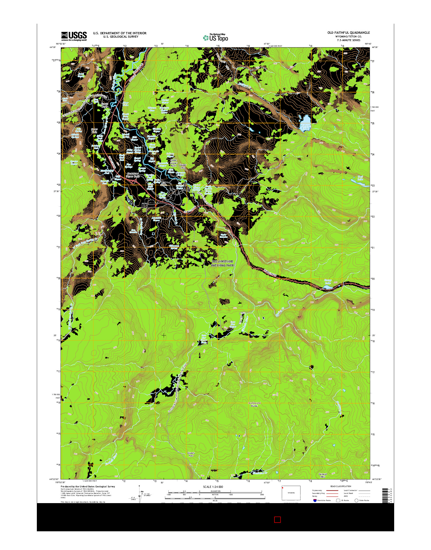 USGS US TOPO 7.5-MINUTE MAP FOR OLD FAITHFUL, WY 2015