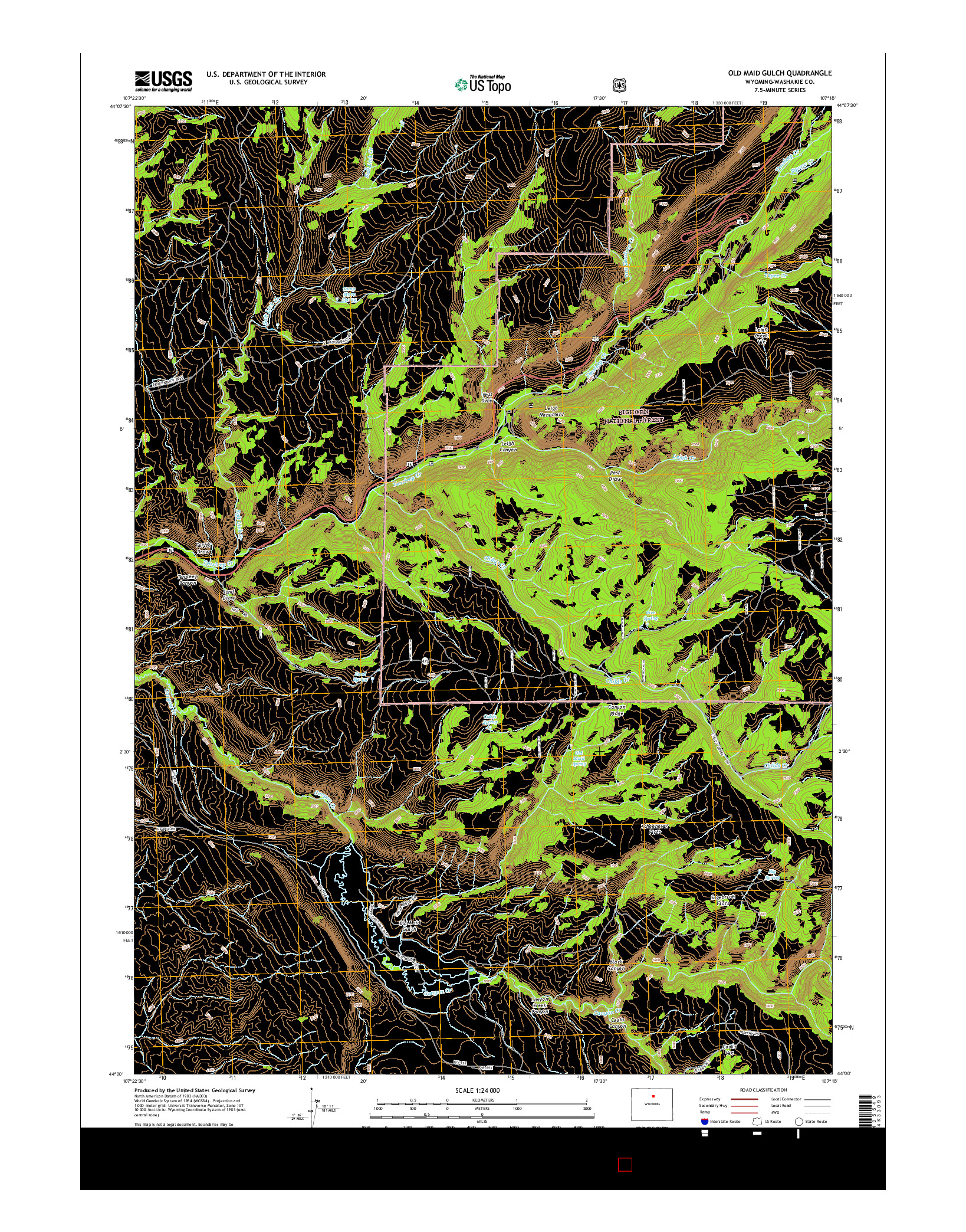 USGS US TOPO 7.5-MINUTE MAP FOR OLD MAID GULCH, WY 2015