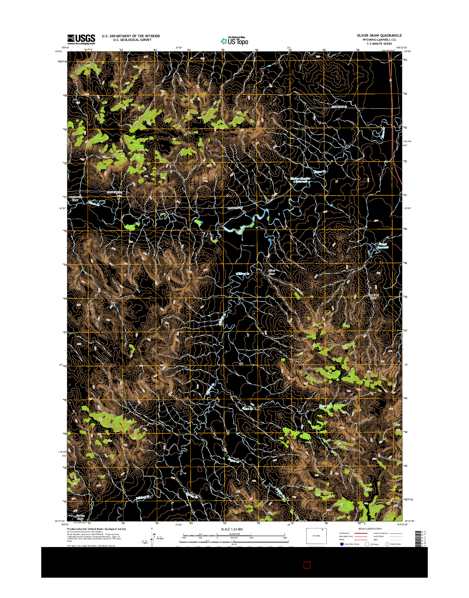 USGS US TOPO 7.5-MINUTE MAP FOR OLIVER DRAW, WY 2015