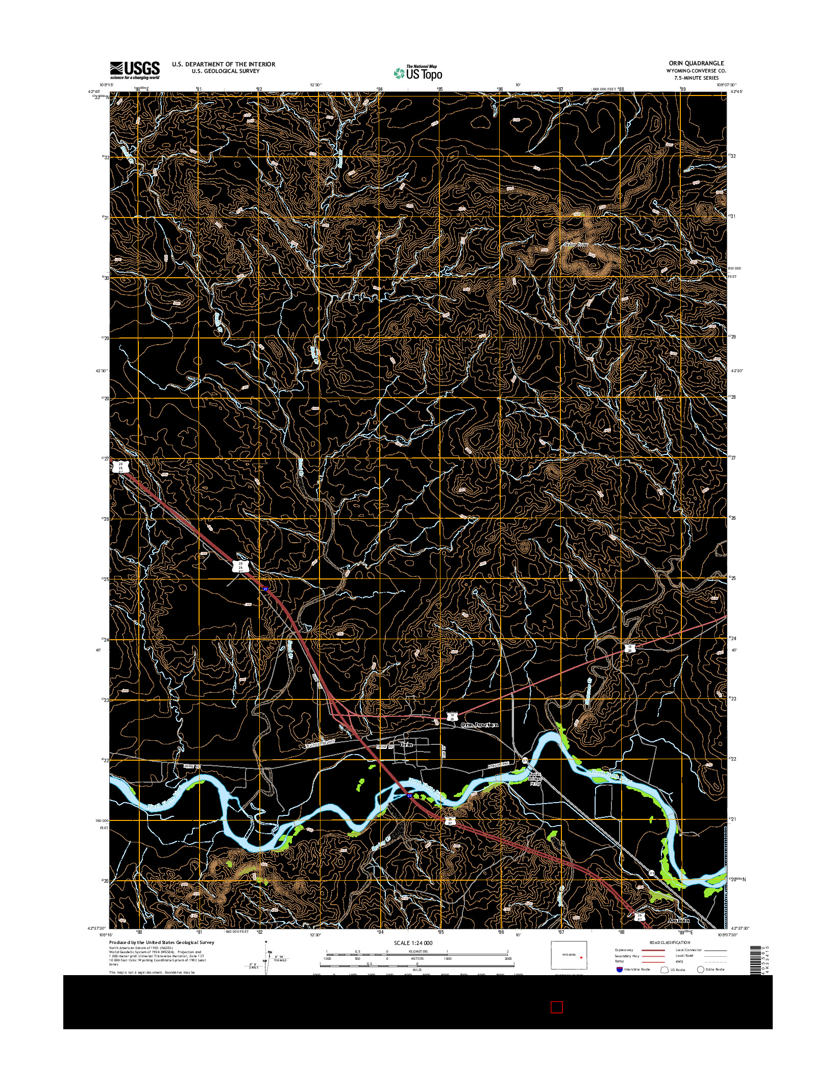 USGS US TOPO 7.5-MINUTE MAP FOR ORIN, WY 2015