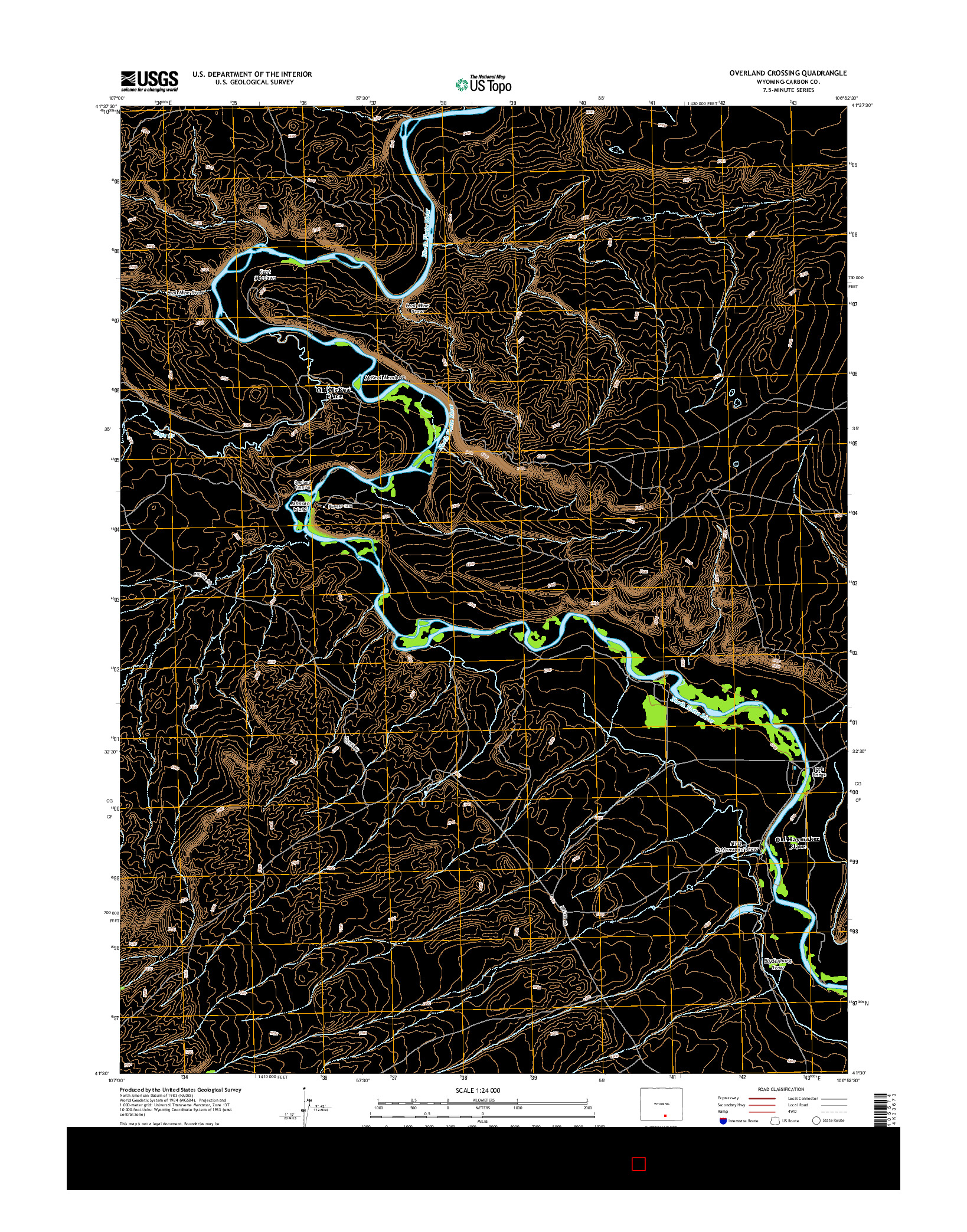 USGS US TOPO 7.5-MINUTE MAP FOR OVERLAND CROSSING, WY 2015