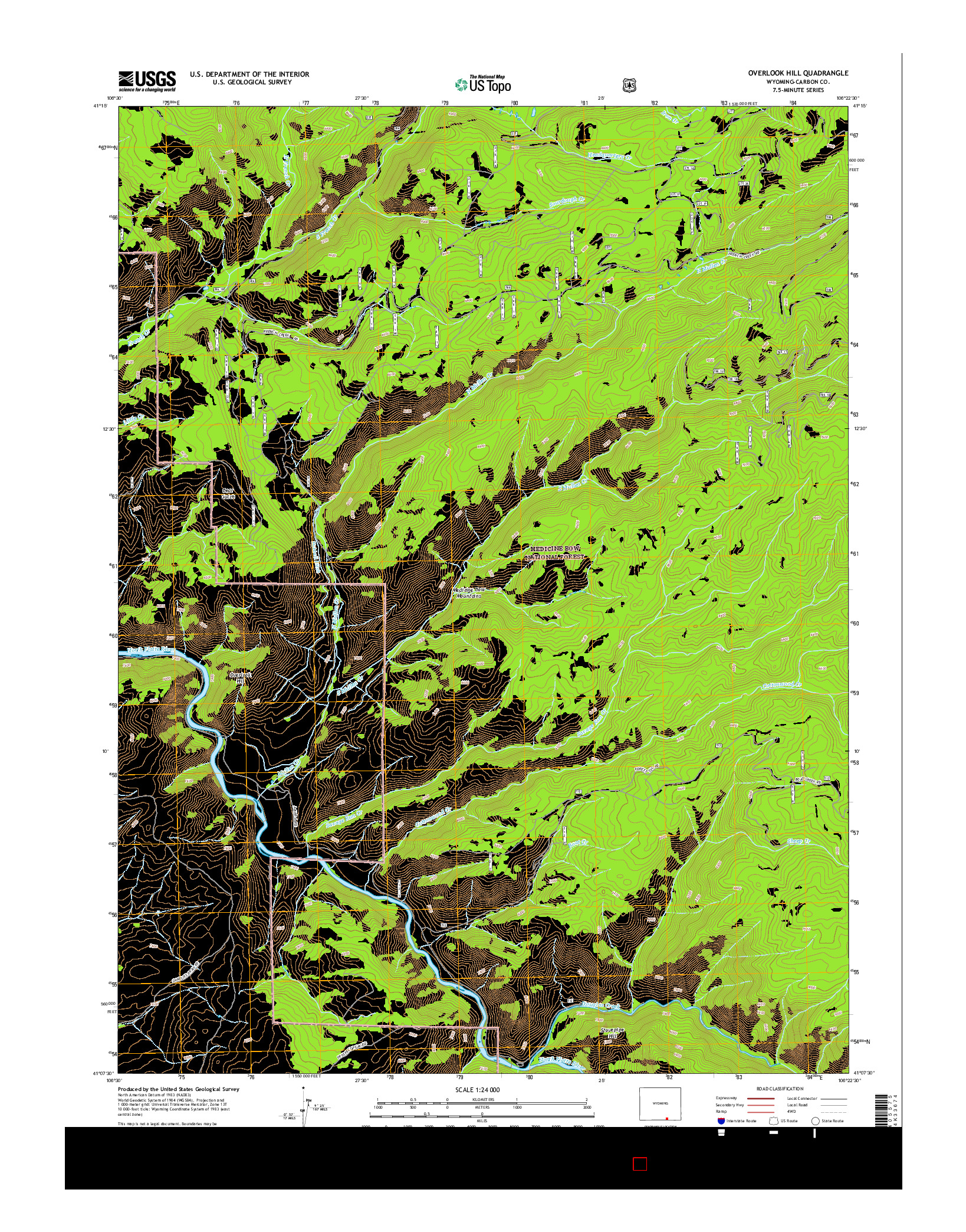 USGS US TOPO 7.5-MINUTE MAP FOR OVERLOOK HILL, WY 2015