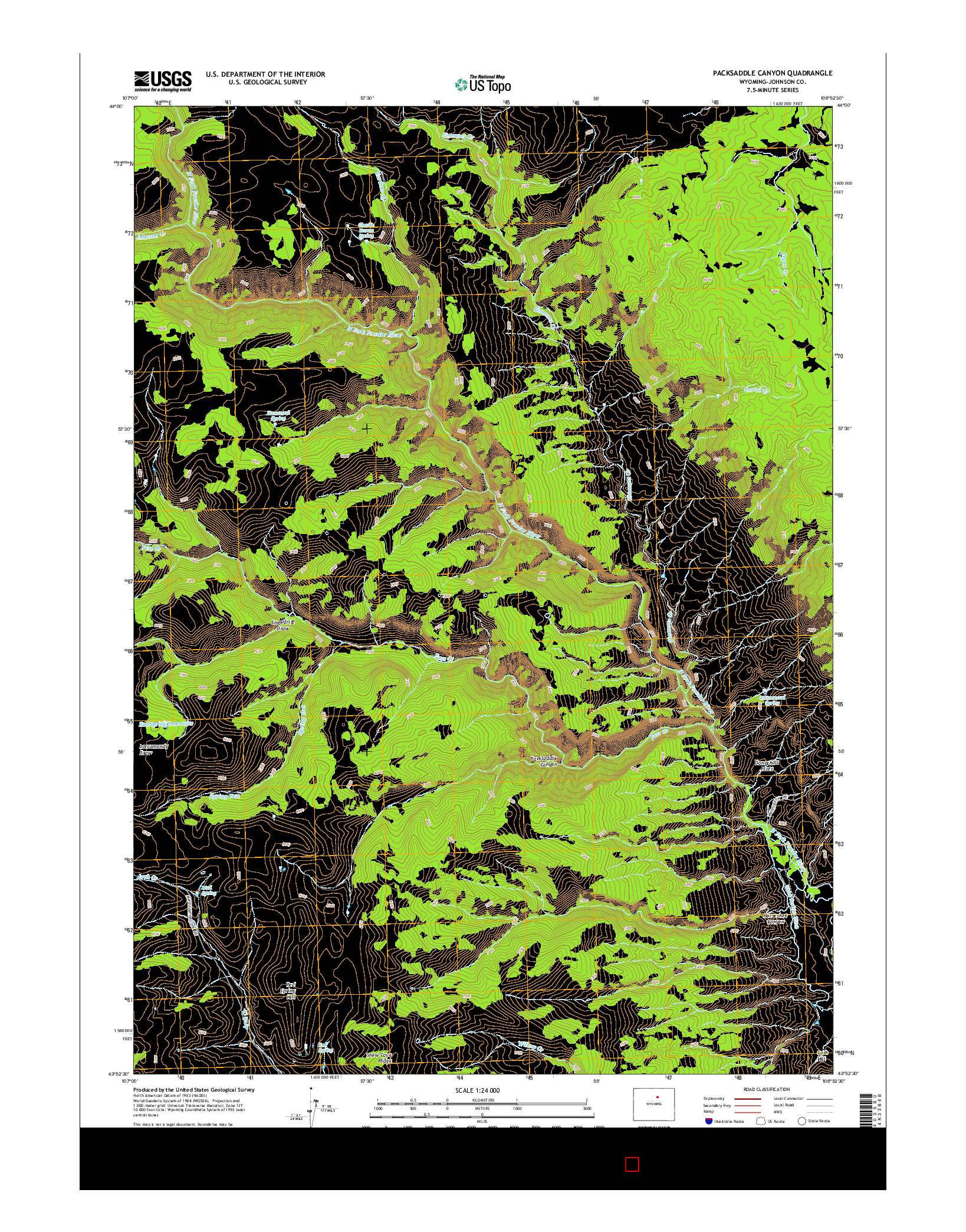 USGS US TOPO 7.5-MINUTE MAP FOR PACKSADDLE CANYON, WY 2015