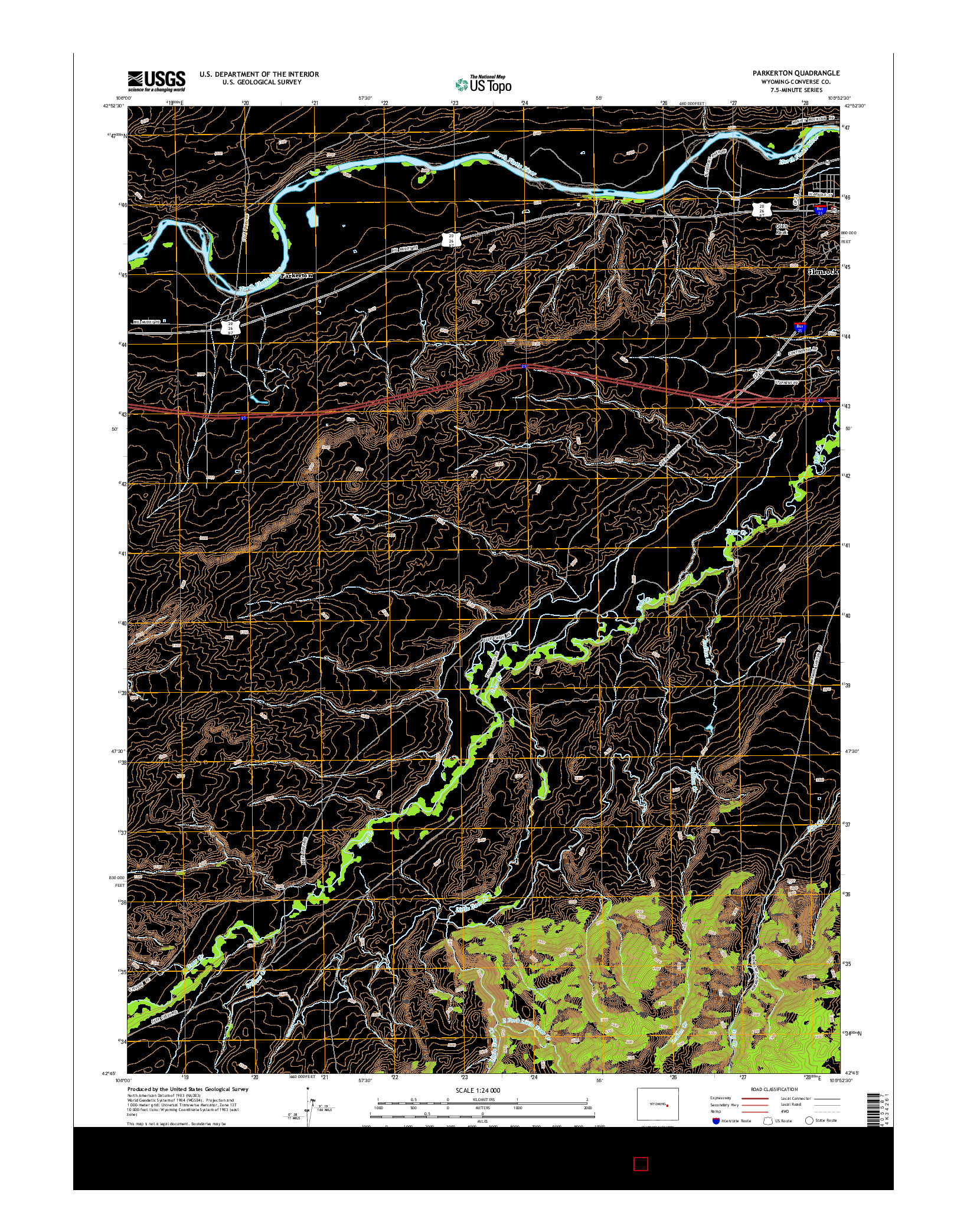 USGS US TOPO 7.5-MINUTE MAP FOR PARKERTON, WY 2015