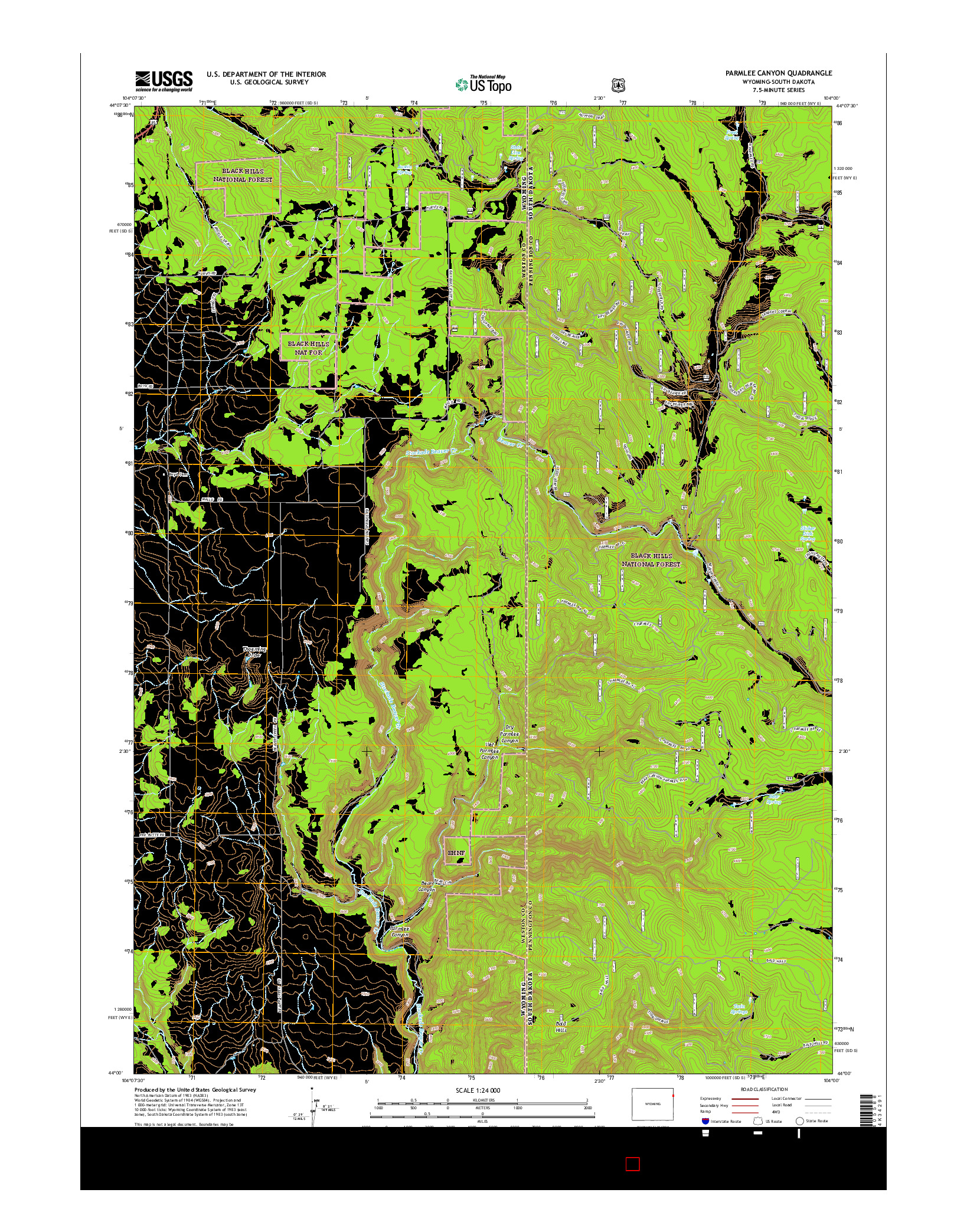 USGS US TOPO 7.5-MINUTE MAP FOR PARMLEE CANYON, WY-SD 2015