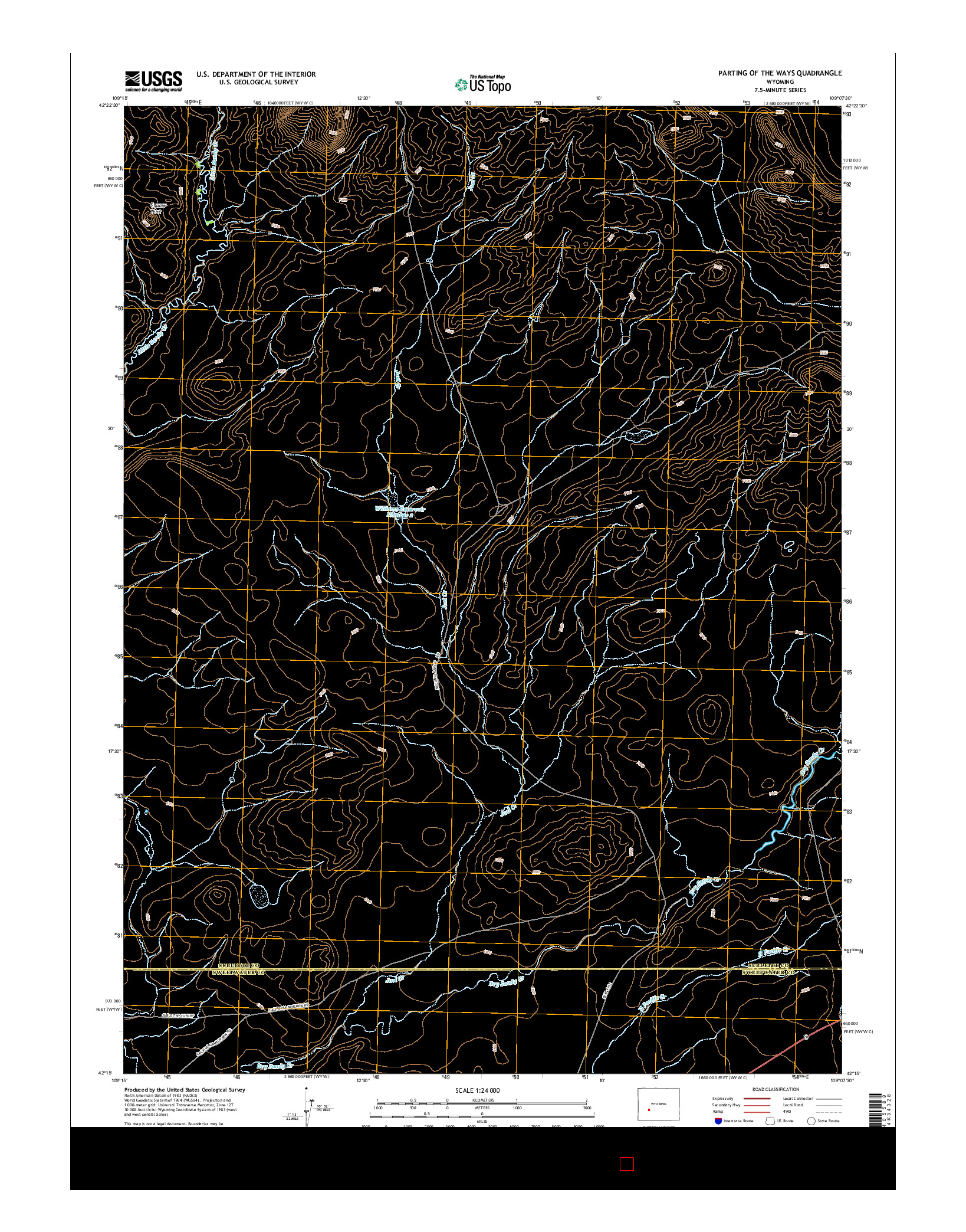 USGS US TOPO 7.5-MINUTE MAP FOR PARTING OF THE WAYS, WY 2015