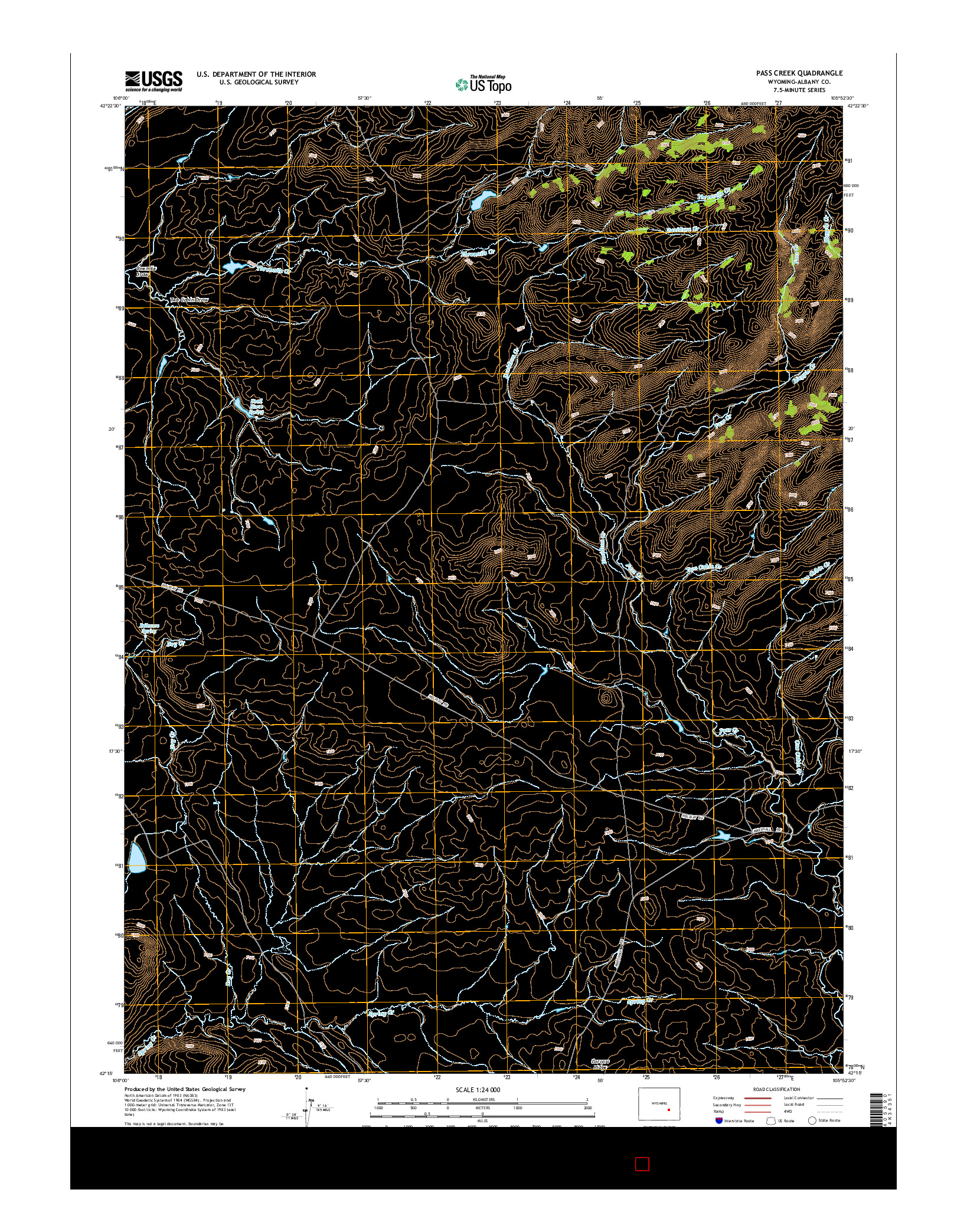 USGS US TOPO 7.5-MINUTE MAP FOR PASS CREEK, WY 2015