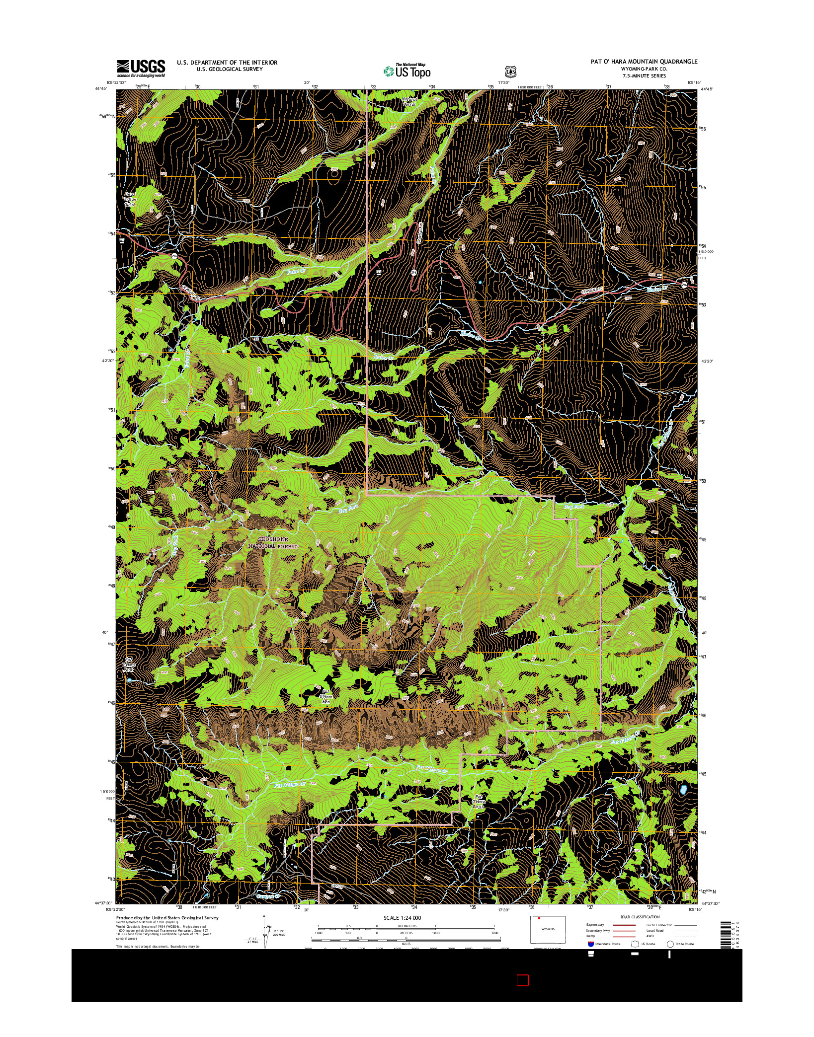 USGS US TOPO 7.5-MINUTE MAP FOR PAT O' HARA MOUNTAIN, WY 2015