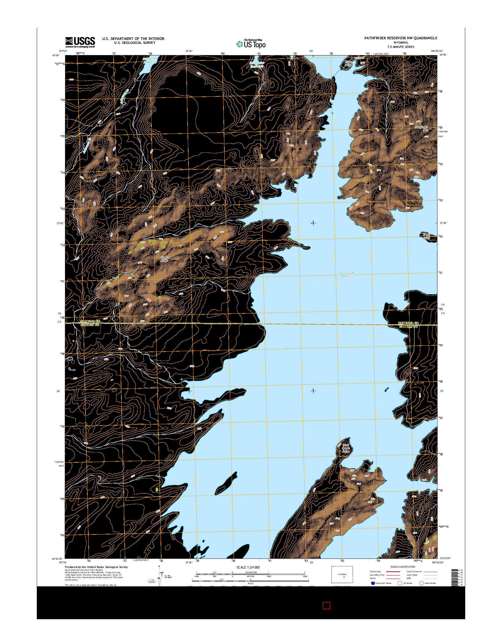 USGS US TOPO 7.5-MINUTE MAP FOR PATHFINDER RESERVOIR NW, WY 2015