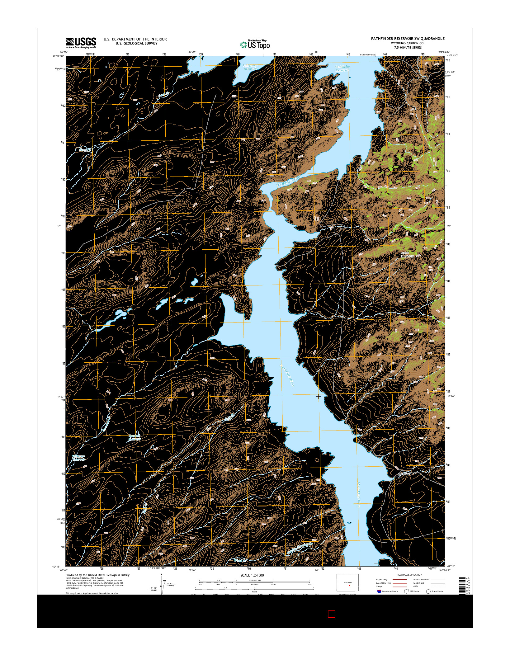USGS US TOPO 7.5-MINUTE MAP FOR PATHFINDER RESERVOIR SW, WY 2015