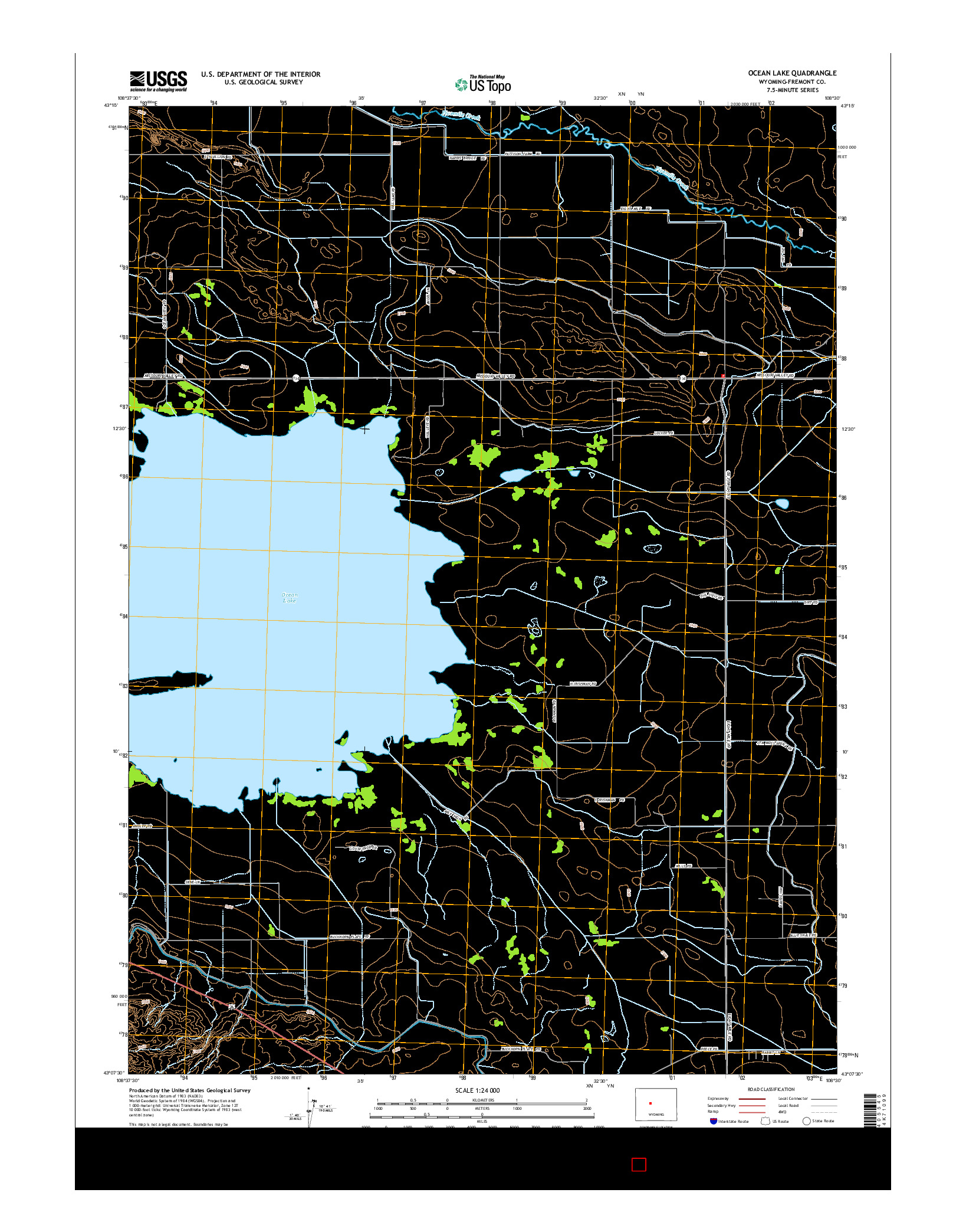 USGS US TOPO 7.5-MINUTE MAP FOR OCEAN LAKE, WY 2015