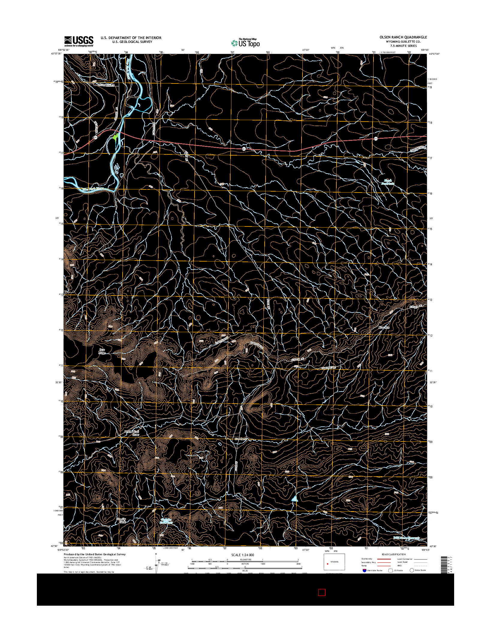 USGS US TOPO 7.5-MINUTE MAP FOR OLSEN RANCH, WY 2015