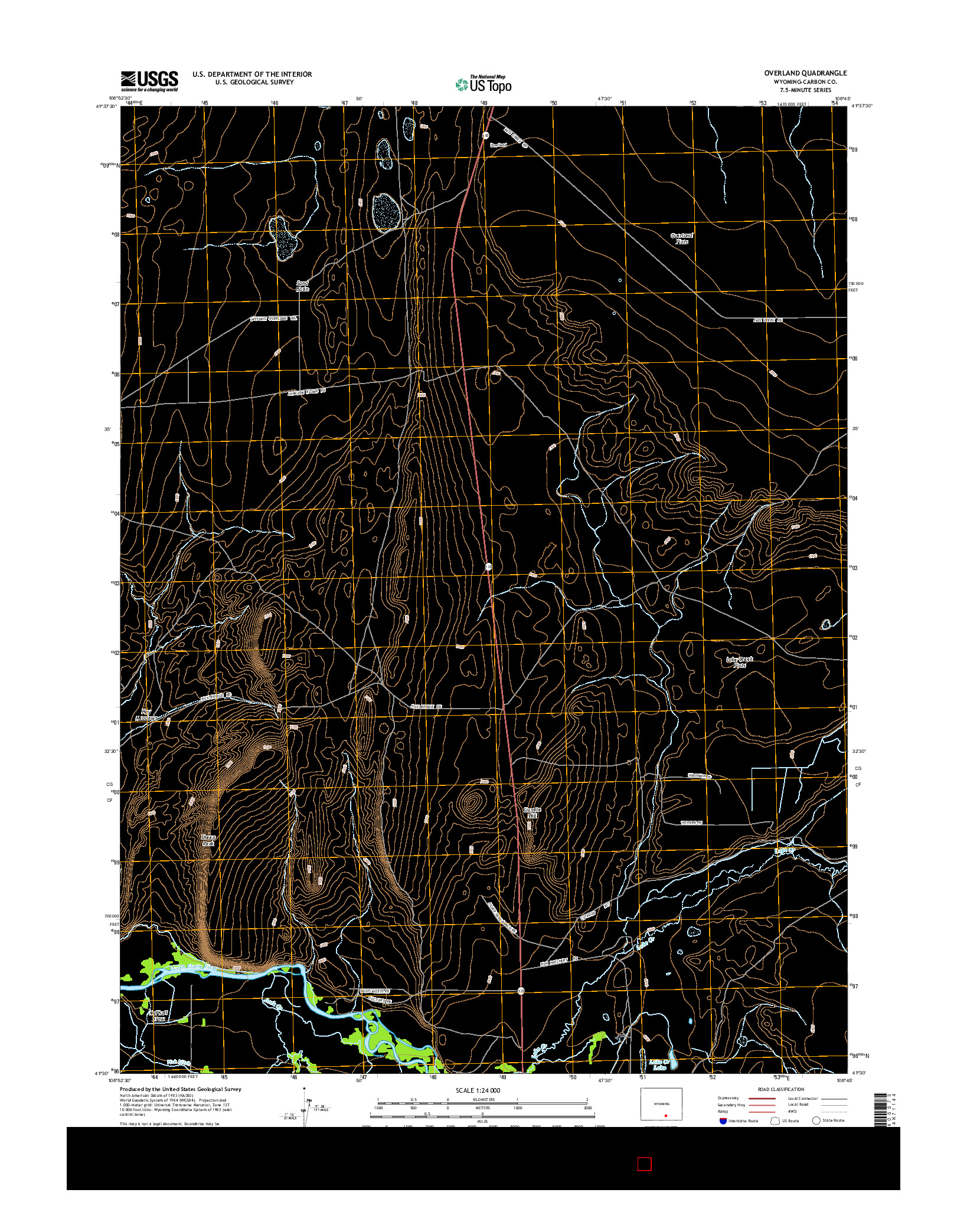 USGS US TOPO 7.5-MINUTE MAP FOR OVERLAND, WY 2015