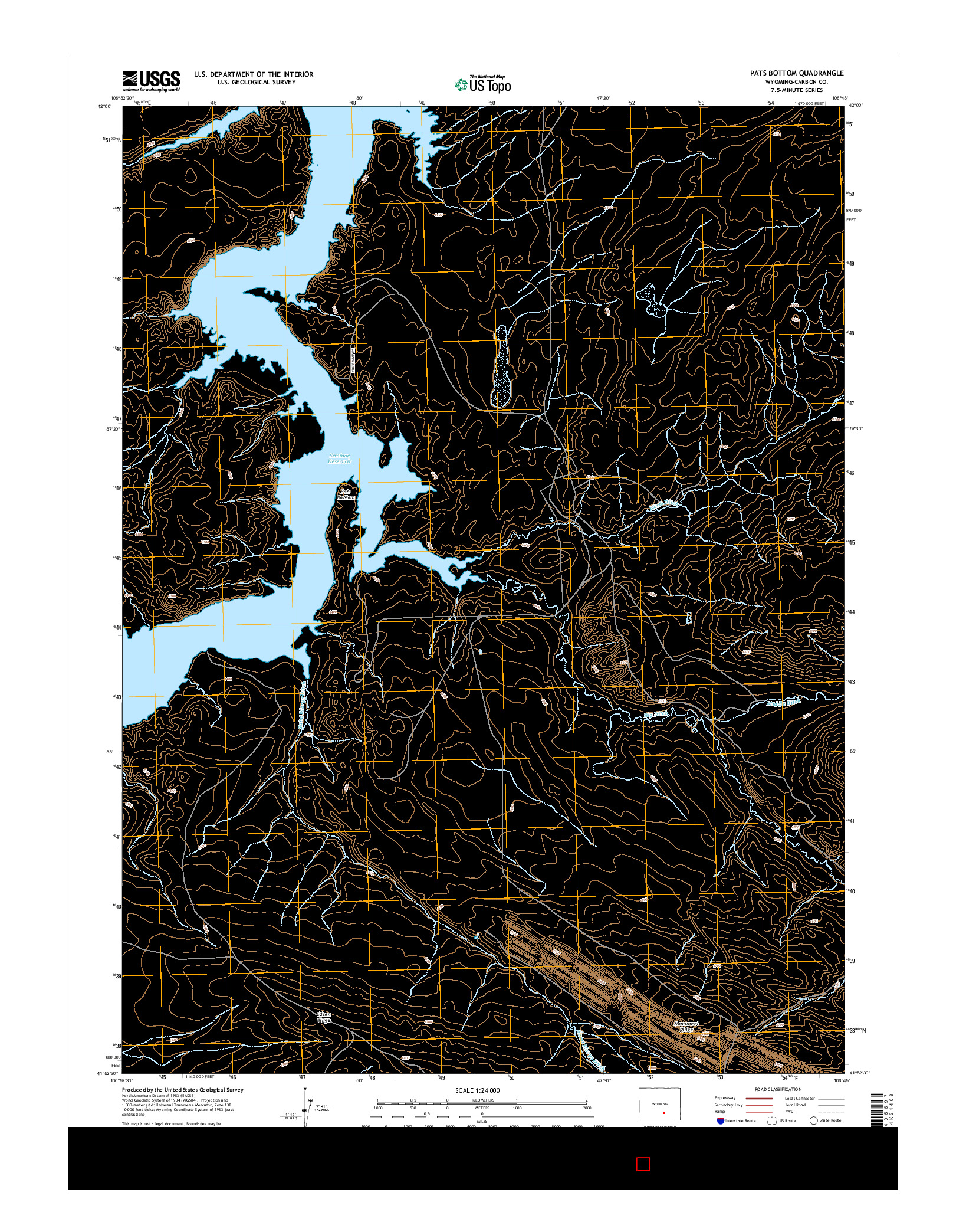 USGS US TOPO 7.5-MINUTE MAP FOR PATS BOTTOM, WY 2015