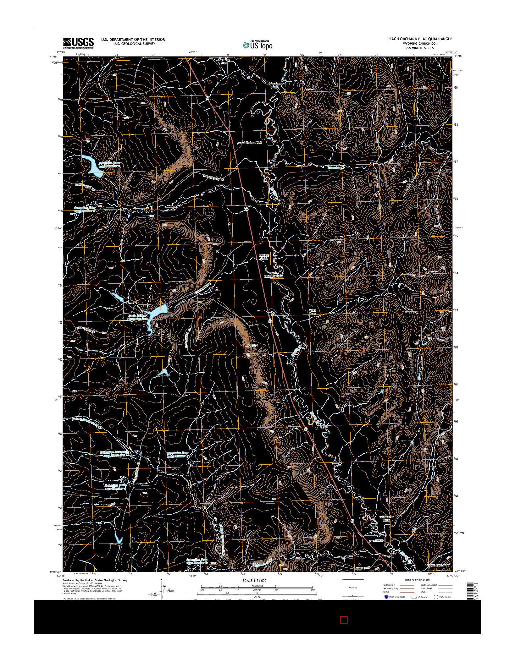 USGS US TOPO 7.5-MINUTE MAP FOR PEACH ORCHARD FLAT, WY 2015
