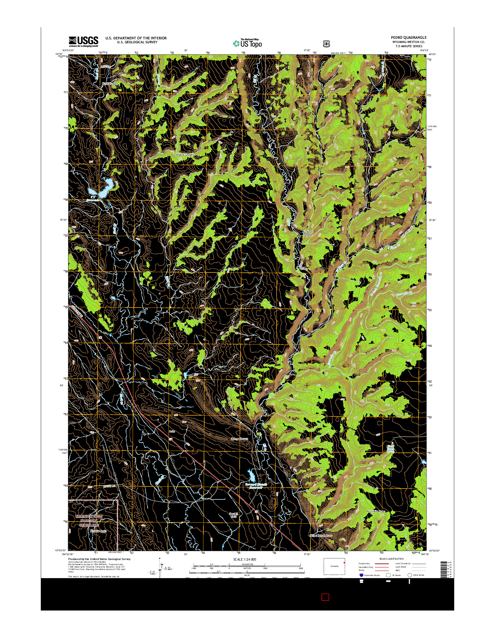 USGS US TOPO 7.5-MINUTE MAP FOR PEDRO, WY 2015