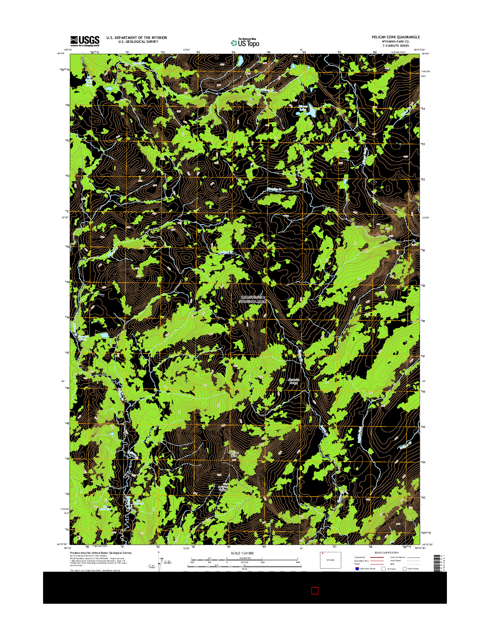 USGS US TOPO 7.5-MINUTE MAP FOR PELICAN CONE, WY 2015