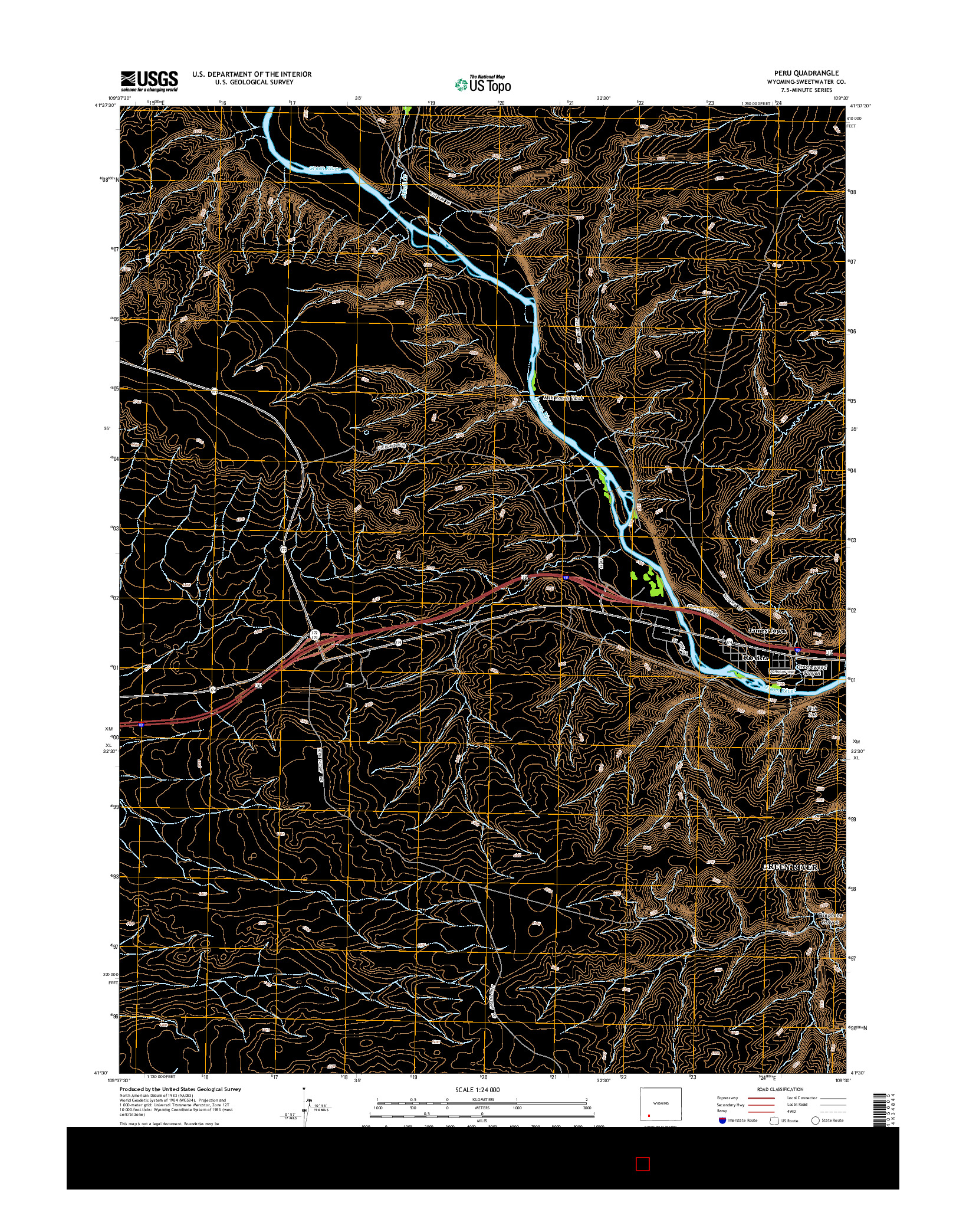 USGS US TOPO 7.5-MINUTE MAP FOR PERU, WY 2015