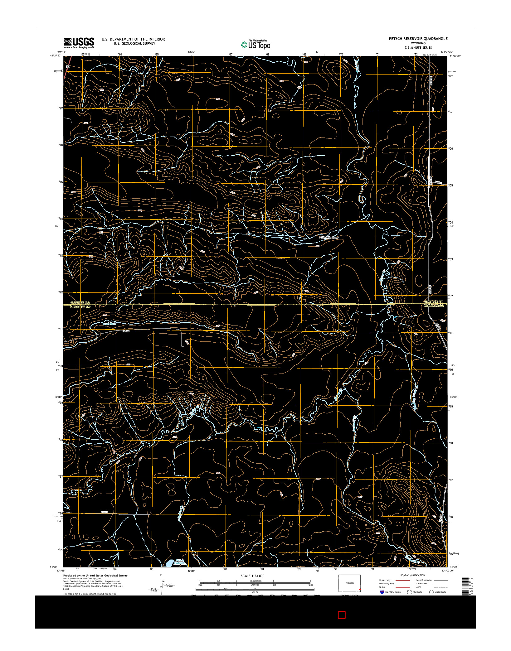 USGS US TOPO 7.5-MINUTE MAP FOR PETSCH RESERVOIR, WY 2015