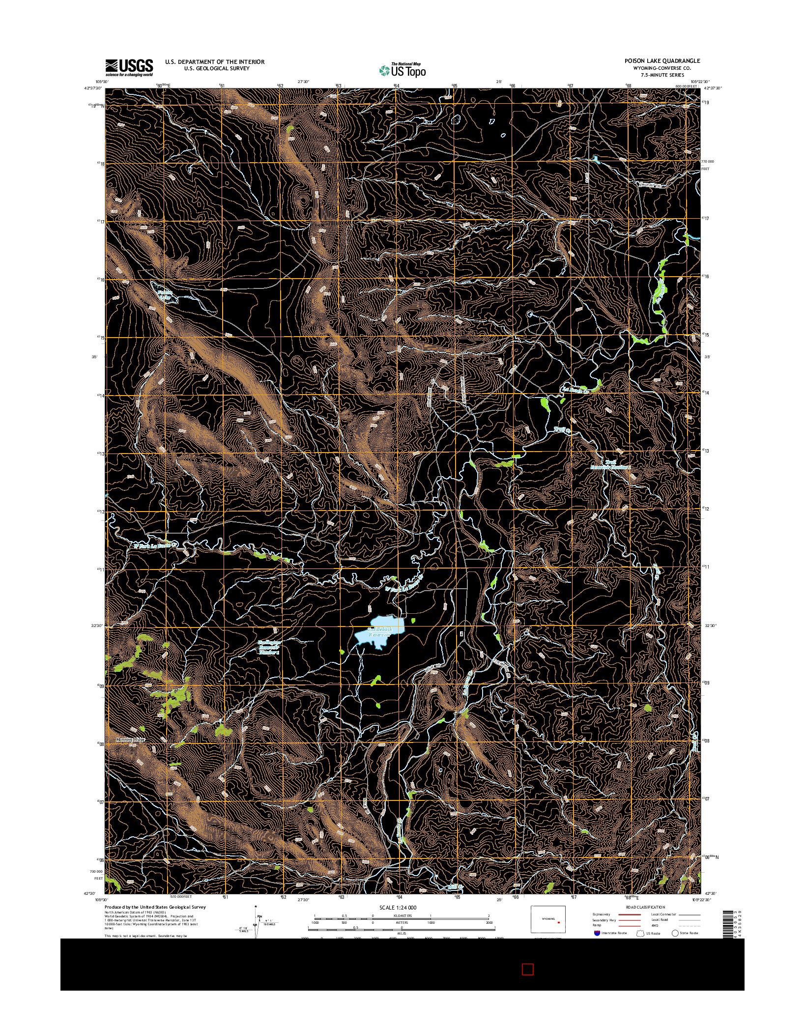USGS US TOPO 7.5-MINUTE MAP FOR POISON LAKE, WY 2015