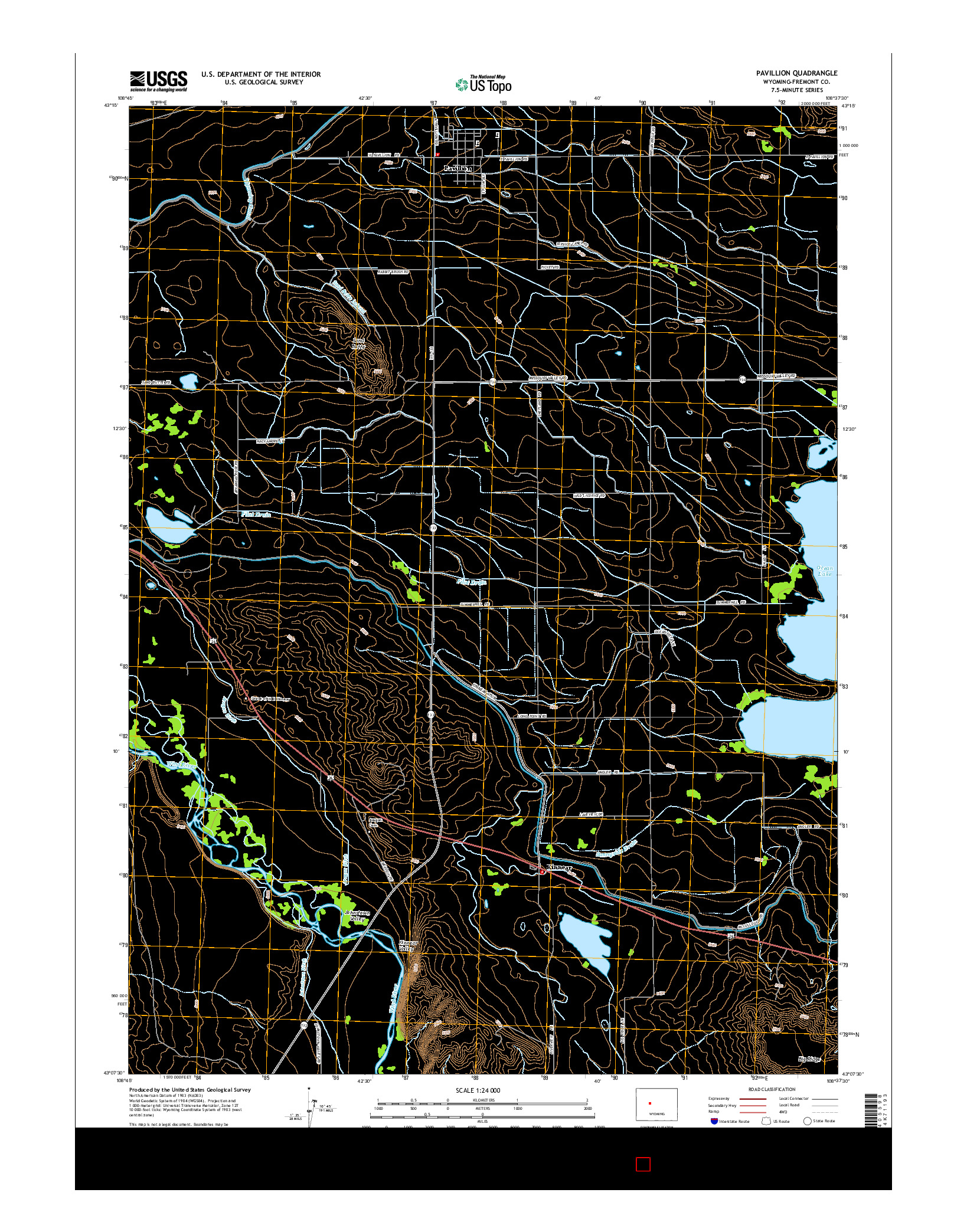 USGS US TOPO 7.5-MINUTE MAP FOR PAVILLION, WY 2015