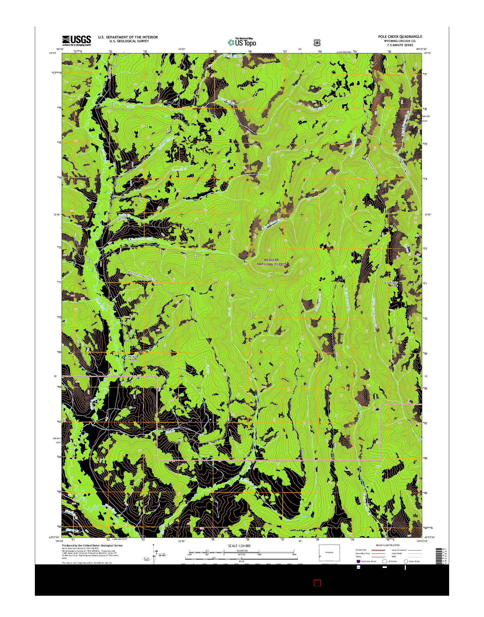 USGS US TOPO 7.5-MINUTE MAP FOR POLE CREEK, WY 2015