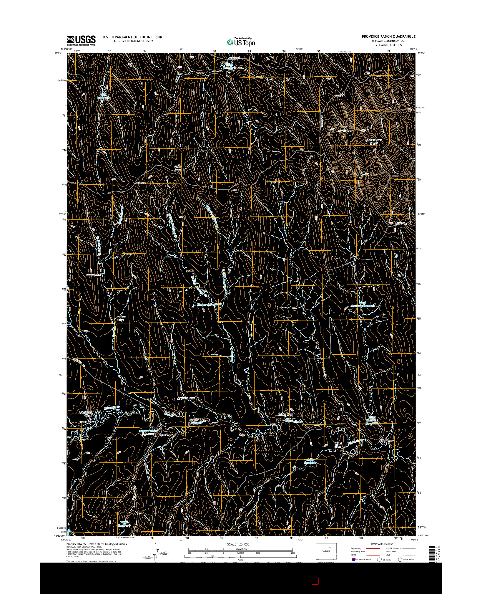 USGS US TOPO 7.5-MINUTE MAP FOR PROVENCE RANCH, WY 2015