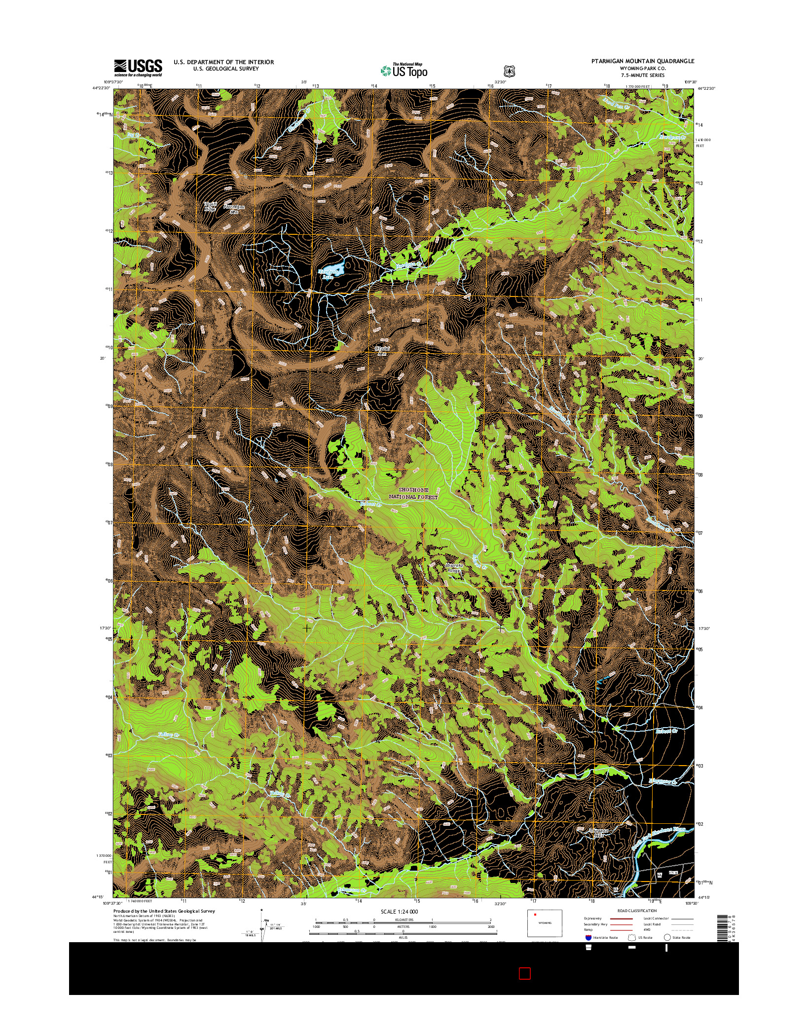 USGS US TOPO 7.5-MINUTE MAP FOR PTARMIGAN MOUNTAIN, WY 2015
