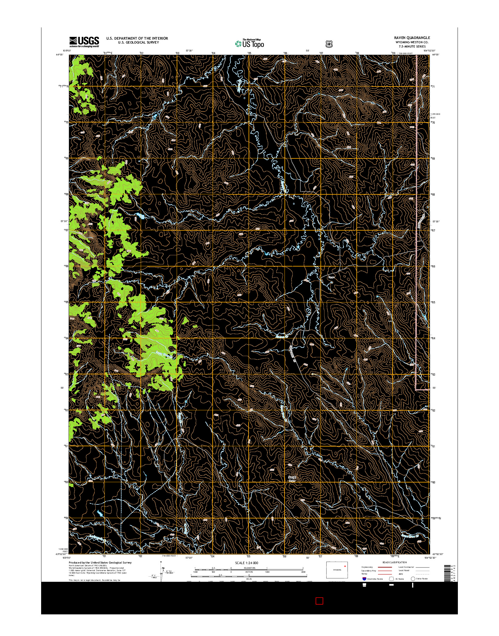USGS US TOPO 7.5-MINUTE MAP FOR RAVEN, WY 2015