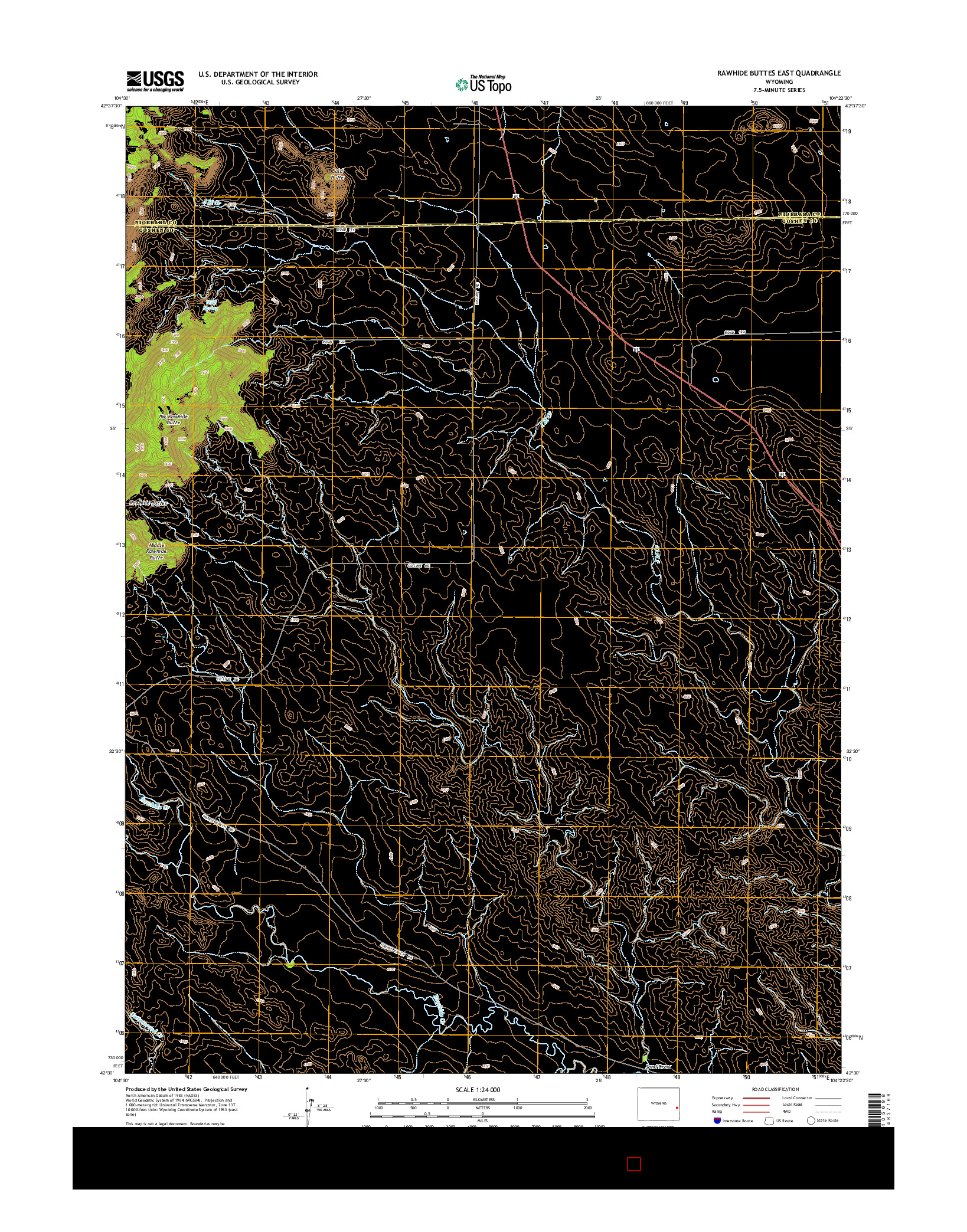 USGS US TOPO 7.5-MINUTE MAP FOR RAWHIDE BUTTES EAST, WY 2015