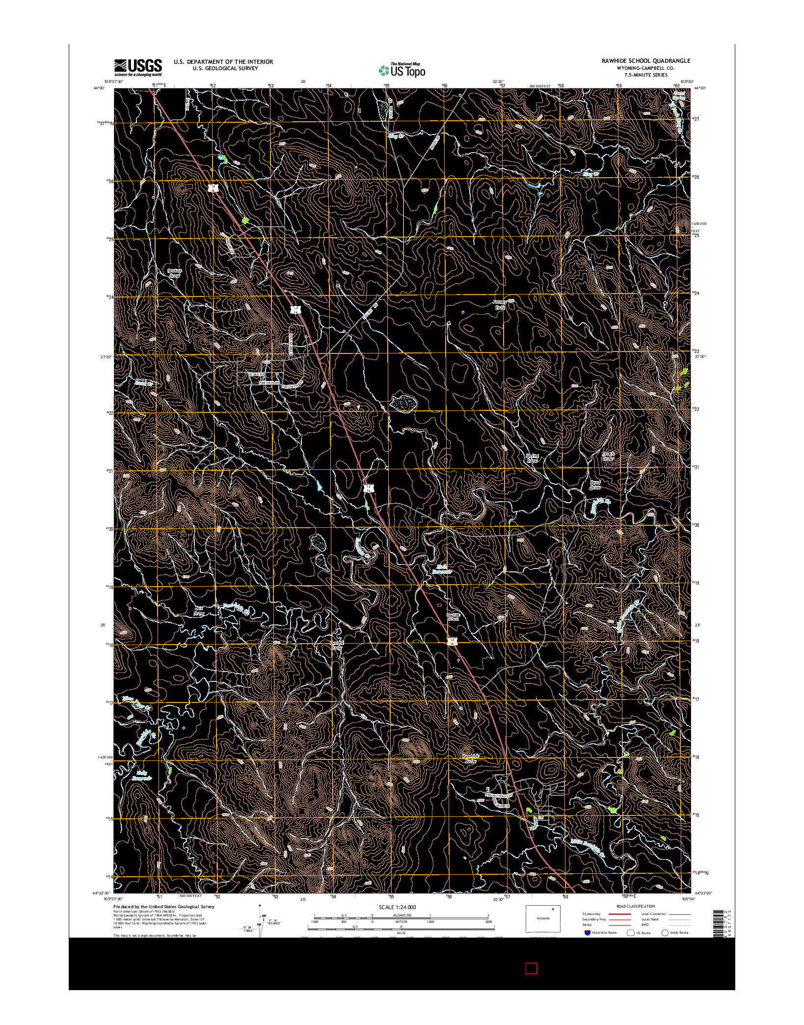 USGS US TOPO 7.5-MINUTE MAP FOR RAWHIDE SCHOOL, WY 2015